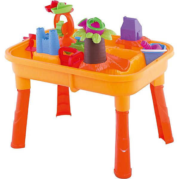 Набор для игры с песком и водой, 18 предметов, Toy TargetИграем в песочнице<br>Набор для игры с песком и водой обязательно приведет в восторг вашего кроху. Набор очень легко собирается - нужно лишь прикрутить пластиковые ножки к столешнице и получится удобное пространство для интересных и полезных игр. Столешница имеет две ёмкости -  одну  для воды,  другую - для песка. Ваш малыш сможет на свой вкус расставлять предметы, строить замок, домик, мостик, мельницу, ворота и многое другое. Игры с песком и водой не только интересны, они развивают мелкую моторику, тактильные ощущения, фантазию, снимают нервное напряжение. Набор выполнен из высококачественного прочного пластика, легко собирается и разбирается, занимает мало места при хранении и транспортировке; его  можно брать с собой на дачу или пикник.<br><br>Дополнительная информация:<br><br>- Комплектация: столешница и 4 ножки; пальма с горкой (4 детали); водяная (песочная) мельница; лопасти;  ворота-загородки (2 шт.); мостик; домик и башни замка (можно использовать как формочки); замковый мостик; совок и грабельки на двух сторонах (длина 22 см); черпачок; леечка; кораблики ( 2 шт.); ведерко.<br>- Материал: пластик.<br>- Размер ( с ножками): 67х42х40 см.<br>- Размер (без ножек): 67х42х15 см.<br>- Артикул 44002.<br><br>Набор для игры с песком и водой, Toy Target можно купить в нашем магазине.<br>Ширина мм: 630; Глубина мм: 140; Высота мм: 420; Вес г: 2600; Возраст от месяцев: 36; Возраст до месяцев: 60; Пол: Унисекс; Возраст: Детский; SKU: 4018269;
