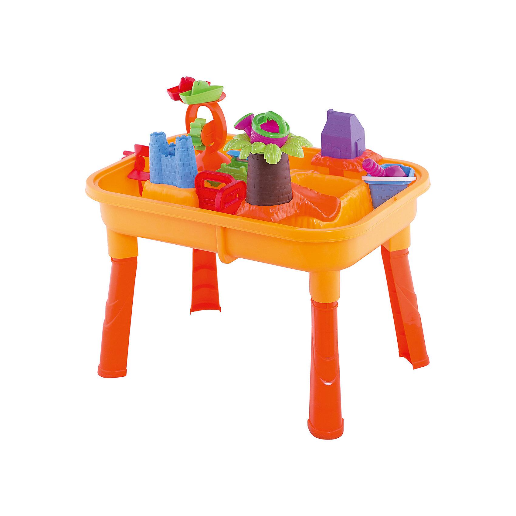 Набор для игры с песком и водой, 18 предметов, Toy TargetИграем в песочнице<br>Набор для игры с песком и водой обязательно приведет в восторг вашего кроху. Набор очень легко собирается - нужно лишь прикрутить пластиковые ножки к столешнице и получится удобное пространство для интересных и полезных игр. Столешница имеет две ёмкости -  одну  для воды,  другую - для песка. Ваш малыш сможет на свой вкус расставлять предметы, строить замок, домик, мостик, мельницу, ворота и многое другое. Игры с песком и водой не только интересны, они развивают мелкую моторику, тактильные ощущения, фантазию, снимают нервное напряжение. Набор выполнен из высококачественного прочного пластика, легко собирается и разбирается, занимает мало места при хранении и транспортировке; его  можно брать с собой на дачу или пикник.<br><br>Дополнительная информация:<br><br>- Комплектация: столешница и 4 ножки; пальма с горкой (4 детали); водяная (песочная) мельница; лопасти;  ворота-загородки (2 шт.); мостик; домик и башни замка (можно использовать как формочки); замковый мостик; совок и грабельки на двух сторонах (длина 22 см); черпачок; леечка; кораблики ( 2 шт.); ведерко.<br>- Материал: пластик.<br>- Размер ( с ножками): 67х42х40 см.<br>- Размер (без ножек): 67х42х15 см.<br>- Артикул 44002.<br><br>Набор для игры с песком и водой, Toy Target можно купить в нашем магазине.<br><br>Ширина мм: 630<br>Глубина мм: 140<br>Высота мм: 420<br>Вес г: 2600<br>Возраст от месяцев: 36<br>Возраст до месяцев: 60<br>Пол: Унисекс<br>Возраст: Детский<br>SKU: 4018269