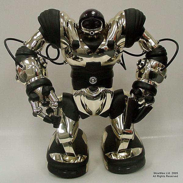 Робот 8083,  WowWeeРоботы<br>Мечта любого ребенка - настоящий робот, который может двигаться и выполнять команды. Робот 8083 от  WowWee - программируемый робот, имеющий несколько уровней сложности игры. Робот имеет два режима ходьбы, руки поворачиваются и могут захватывать предметы, издает различные звуки и разговаривает на языке пещерных людей. Управляется 7 мини-моторами с 6 подвижными осями, каждый из которых индивидуально программируется. Игрушка имеет 67  функций и до 84 различных шагов, может даже танцевать или демонстрировать удары кунг-фу. Все команды выполняются со специального пульта ДУ или при касании датчиков на руках или ногах (запускается ранее введенная команда).<br><br>Дополнительная информация:<br><br>- Материал: пластик, металл.<br>- Высота: 44 см.<br>- Два режима ходьбы и поворотов.<br>- Выполнение различных захватов.<br>- Несколько уровней сложности.<br>- 67 функций.<br>- 84 шага. <br>- Танцует, показывает приемы кунг-фу.<br>- Автоматическое отключение.<br>- Управление с пульта ДУ или же с помощью касания. <br>- Элемент питания: для робота - 4 батарейки D; для пульта ДУ 3 батарейки ААА ( не входят в комплект).<br>- Звуковые эффекты.<br>- Комплектация: робот, пульт управления, инструкция.<br><br>Робота 8083,  WowWee можно купить в нашем магазине.<br>Ширина мм: 400; Глубина мм: 260; Высота мм: 430; Вес г: 2600; Возраст от месяцев: 72; Возраст до месяцев: 144; Пол: Мужской; Возраст: Детский; SKU: 4018273;