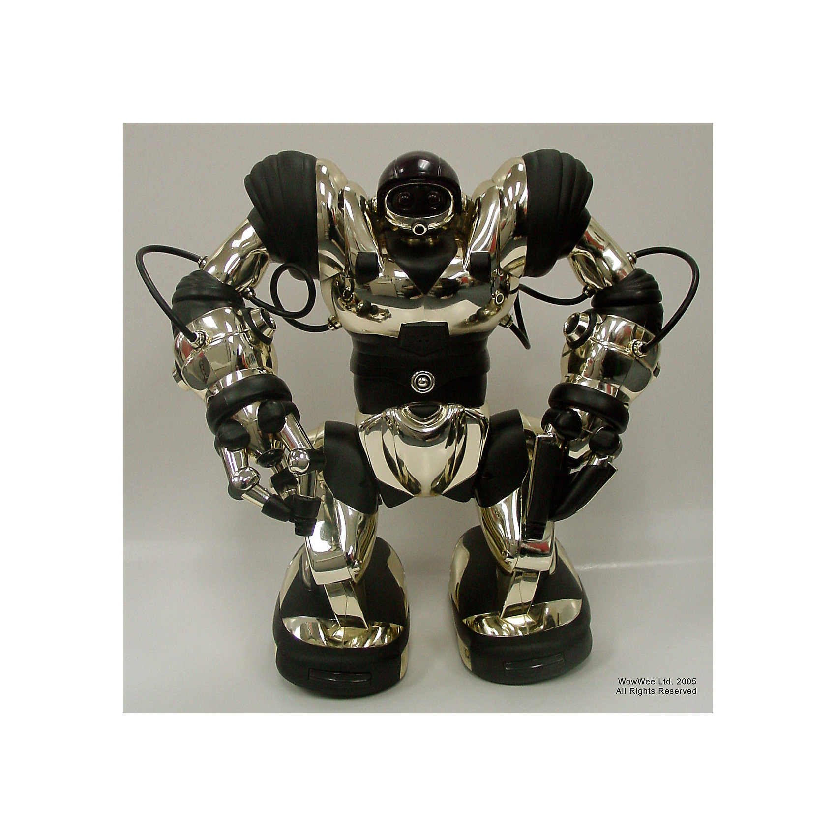 Робот 8083,  WowWeeМечта любого ребенка - настоящий робот, который может двигаться и выполнять команды. Робот 8083 от  WowWee - программируемый робот, имеющий несколько уровней сложности игры. Робот имеет два режима ходьбы, руки поворачиваются и могут захватывать предметы, издает различные звуки и разговаривает на языке пещерных людей. Управляется 7 мини-моторами с 6 подвижными осями, каждый из которых индивидуально программируется. Игрушка имеет 67  функций и до 84 различных шагов, может даже танцевать или демонстрировать удары кунг-фу. Все команды выполняются со специального пульта ДУ или при касании датчиков на руках или ногах (запускается ранее введенная команда).<br><br>Дополнительная информация:<br><br>- Материал: пластик, металл.<br>- Высота: 44 см.<br>- Два режима ходьбы и поворотов.<br>- Выполнение различных захватов.<br>- Несколько уровней сложности.<br>- 67 функций.<br>- 84 шага. <br>- Танцует, показывает приемы кунг-фу.<br>- Автоматическое отключение.<br>- Управление с пульта ДУ или же с помощью касания. <br>- Элемент питания: для робота - 4 батарейки D; для пульта ДУ 3 батарейки ААА ( не входят в комплект).<br>- Звуковые эффекты.<br>- Комплектация: робот, пульт управления, инструкция.<br><br>Робота 8083,  WowWee можно купить в нашем магазине.<br><br>Ширина мм: 400<br>Глубина мм: 260<br>Высота мм: 430<br>Вес г: 2600<br>Возраст от месяцев: 72<br>Возраст до месяцев: 144<br>Пол: Мужской<br>Возраст: Детский<br>SKU: 4018273