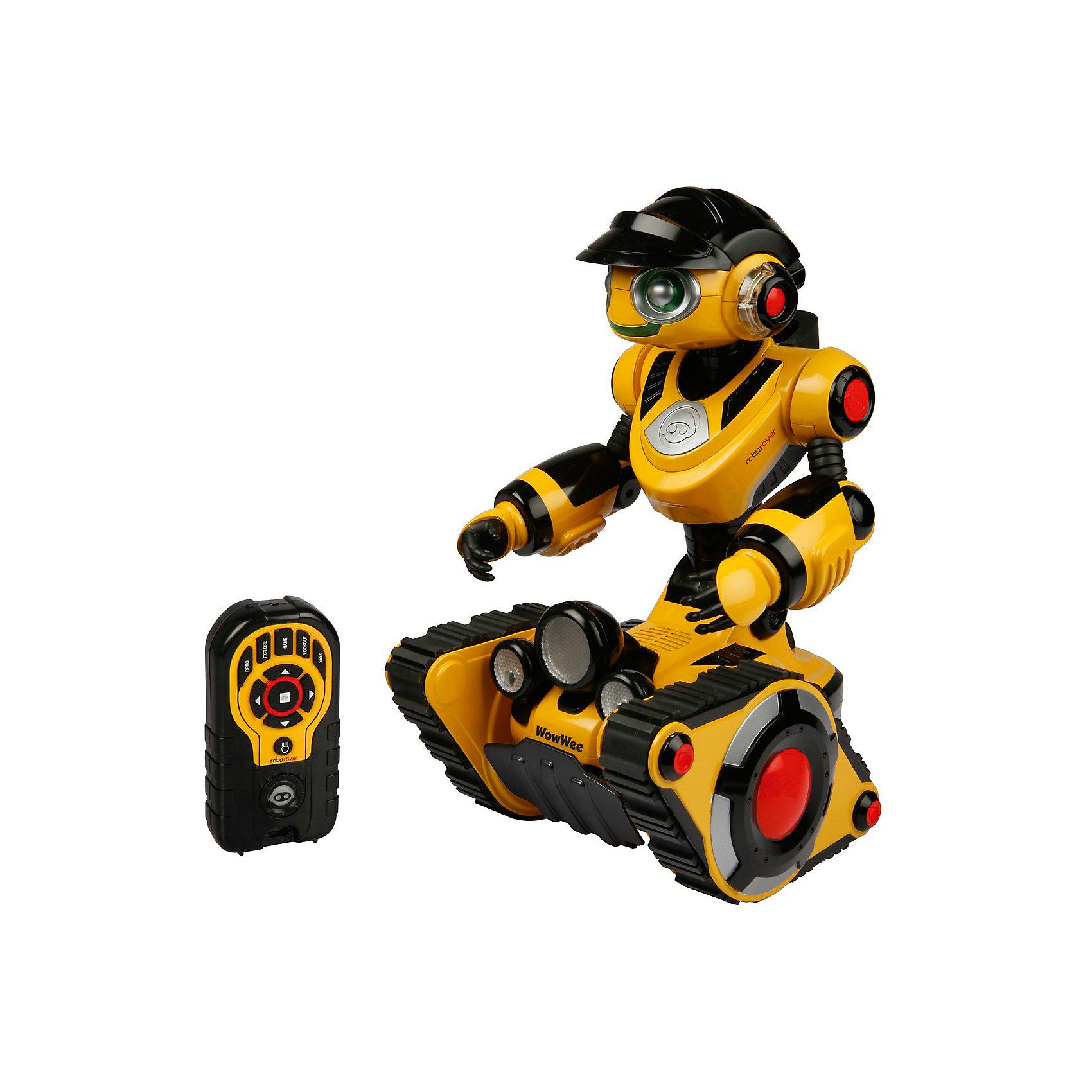 Роборовер 8515,  WowWeeМечта любого ребенка - настоящий робот, который может двигаться и выполнять команды. Роборовер 8515,  WowWee - бесстрашный путешественник на гусеничном ходу, преодолевающий любые препятствия. Робот говорит на русском языке, если на пути ему встретится что-то непонятное, он вытянется и наклонит голову на бок, как бы раздумывая, куда двигаться дальше. Настоящая фара, включающаяся с пульта ДУ осветит путь даже в темноте. Установите функцию преследования и Роборовер будет ходить за вами по пятам, не оставляя ни на минуту. Робот имеет подвижные руки, а глаза и рот во время разговоров весело мигают подсветкой мимики. Чем больше времени вы проводите со своим роботом, тем больше он привыкает к вам, становится разговорчивым и открытым (режим личности). <br><br>Дополнительная информация:<br><br>- Материал: пластик, металл.<br>- Высота: 35 см.<br>- Говорит по-русски.<br>- Режим сторожа.<br>- Режим преследования.<br>- Функция исследования.<br>- Подвижные руки.<br>- На гусеничном ходу, объезжает препятствия.<br>- Управление с пульта ДУ.<br>- Элемент питания: для робота - 4 батарейки С; для пульта ДУ 3 батарейки ААА ( не входят в комплект).<br>- Звуковые эффекты.<br>- Световые эффекты. <br>- Комплектация: робот, пульт управления, инструкция.<br><br>Роборовера 8515,  WowWee можно купить в нашем магазине.<br><br>Ширина мм: 280<br>Глубина мм: 300<br>Высота мм: 400<br>Вес г: 3100<br>Возраст от месяцев: 72<br>Возраст до месяцев: 144<br>Пол: Мужской<br>Возраст: Детский<br>SKU: 4018274