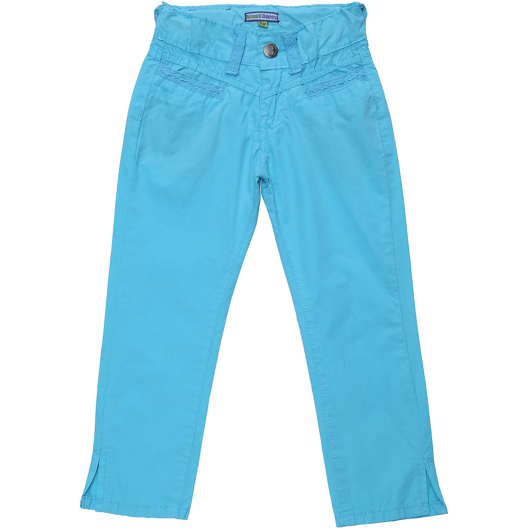 Брюки для девочки Sweet BerryБрюки<br>Текстильные летние брюки. Декорированы ажурной тесьмой. Снизу небольшие разрезы. Пояс регулируется внутренней резинкой.<br>Состав:<br>100% хлопок<br><br>Ширина мм: 215<br>Глубина мм: 88<br>Высота мм: 191<br>Вес г: 336<br>Цвет: голубой<br>Возраст от месяцев: 36<br>Возраст до месяцев: 48<br>Пол: Женский<br>Возраст: Детский<br>Размер: 104,110,116,98,128,122<br>SKU: 4019363