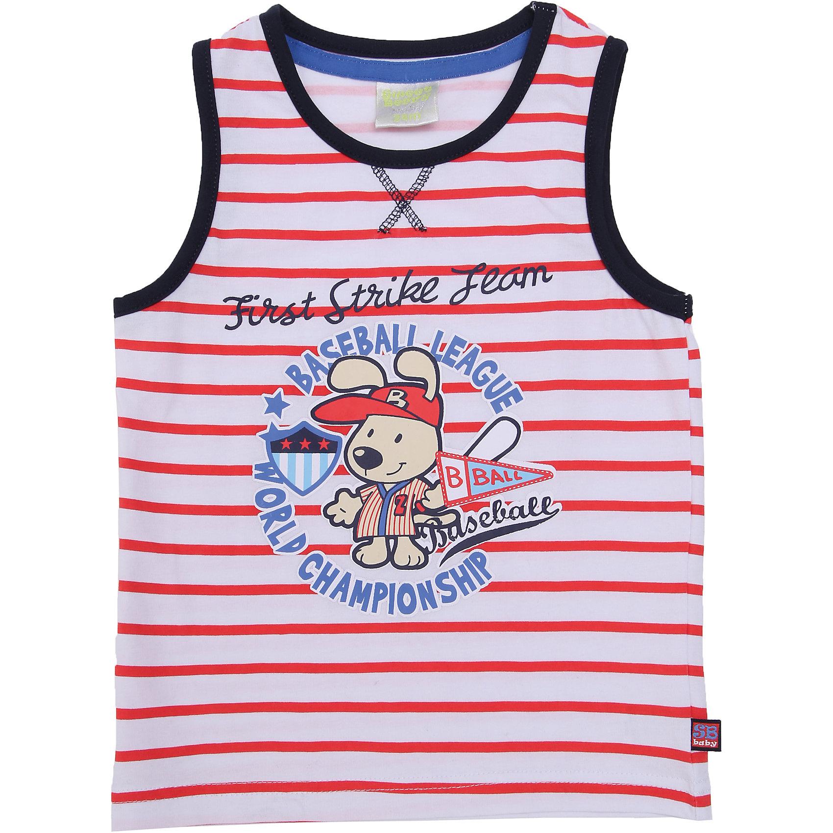 Комплект: майка и шорты для мальчика Sweet BerryКомплекты<br>Красивый летний комплект из двух предметов. Майка с контрастной окантовкой по пройме и горловине, украшена модным принтом. Шорты украшены контрастными вставками по бокам. Пояс дополнительно регулируется шнурком.<br>Состав:<br>95% хлопок 5% эластан<br><br>Ширина мм: 199<br>Глубина мм: 10<br>Высота мм: 161<br>Вес г: 151<br>Цвет: белый<br>Возраст от месяцев: 12<br>Возраст до месяцев: 18<br>Пол: Мужской<br>Возраст: Детский<br>Размер: 86,92,80,98<br>SKU: 4019981