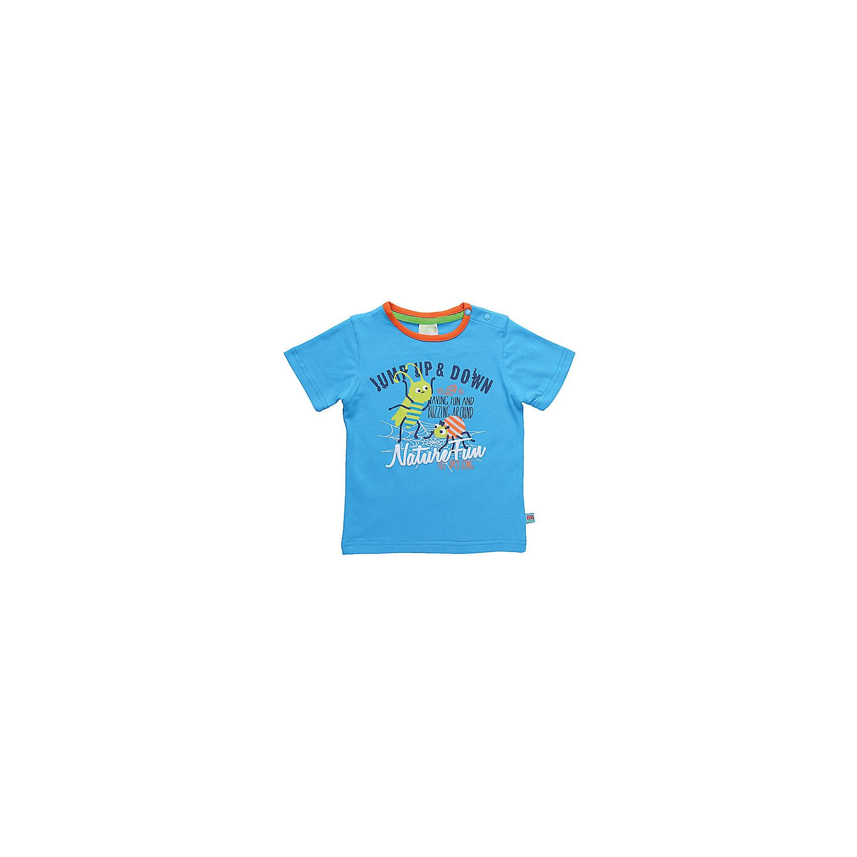 Комплект: футболка и шорты для мальчика Sweet BerryЯркий летний комплект из двух предметов. Футболка с контрастной окантовкой по горловине, украшена модным принтом. Шорты украшены контрастными полосками по бокам. Пояс на резинке дополнительно регулируется контрастным шнурком.<br>Состав:<br>95% хлопок 5% эластан<br><br>Ширина мм: 199<br>Глубина мм: 10<br>Высота мм: 161<br>Вес г: 151<br>Цвет: голубой<br>Возраст от месяцев: 12<br>Возраст до месяцев: 18<br>Пол: Мужской<br>Возраст: Детский<br>Размер: 86,80,92,98<br>SKU: 4020016