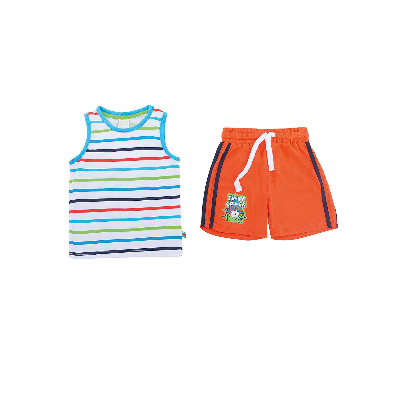 Комплект: майка и шорты для мальчика Sweet BerryКомплекты<br>Яркий летний комплект из двух предметов. Майка в яркую полоску с контрастной окантовкой по горловине и пройме. Шорты украшены контрастными полосками по бокам и ярким принтом. Пояс на резинке дополнительно регулируется контрастным шнурком.<br>Состав:<br>95% хлопок 5% эластан<br><br>Ширина мм: 199<br>Глубина мм: 10<br>Высота мм: 161<br>Вес г: 151<br>Цвет: оранжевый<br>Возраст от месяцев: 24<br>Возраст до месяцев: 36<br>Пол: Мужской<br>Возраст: Детский<br>Размер: 98,86,80,92<br>SKU: 4020021