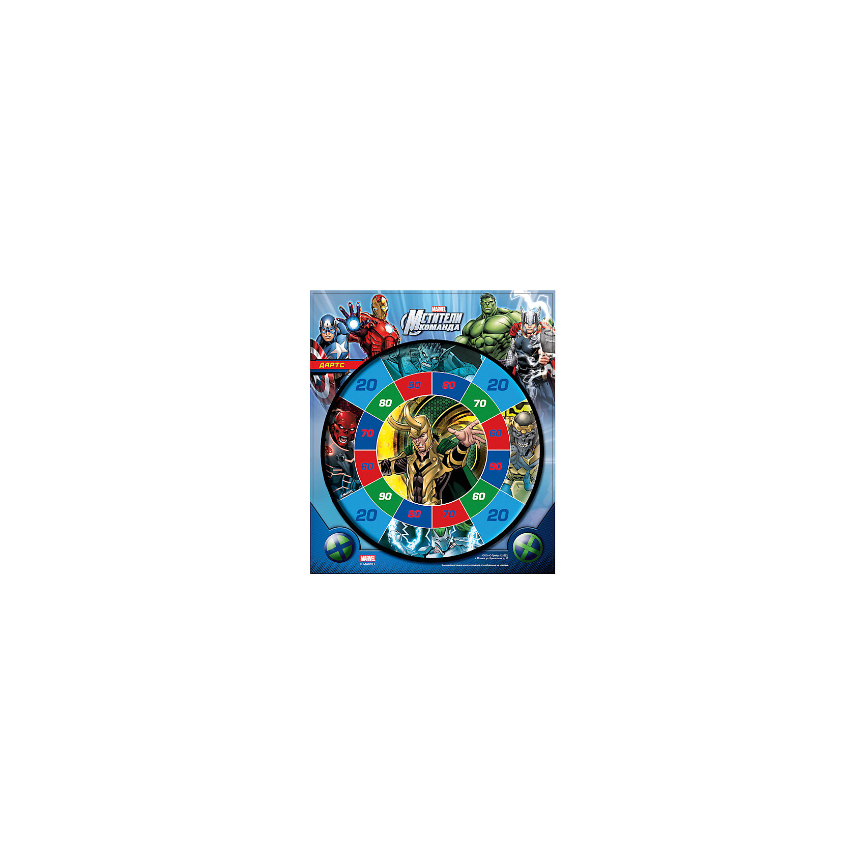 Набор для игры в Дартс Мстители (панель +2 мяча на липучке), Marvel HeroesИгровые наборы<br>Набор для игры в Дартс Мстители (панель +2 мяча на липучке), Marvel Heroes (Герои Марвел)  состоит из круглой мишени и 2 мячей на липучках, бросая которые, необходимо попасть на поверхность мишени и набрать максимальное количество очков. Мишень украшена изображениями персонажей суперкоманды «Мстители» (Avengers) (Железный человек, Тор, Халк, Хэнк Пим, Оаса, Капитан Америка и др.) из популярных комиксов компании Марвел. Игра в дартс способствует развитию ловкости, координации движений и меткости у детей.<br><br>Комплектация: мишень, 2 пластиковых мячика на липучках<br><br>Дополнительная информация:<br>-Серия: Мстители, Герои Марвел<br>-Диаметр мишени: 29,5 см <br>-Материалы: пластик<br>-Диаметр мячика: 3,5 см <br>-Упаковка: блистер<br><br>Набор для игры в Дартс «Мстители» – отличный подарок ребенку и отличный способ весело провести время в семейном кругу. <br><br>Набор для игры в Дартс Мстители (панель +2 мяча на липучке), Marvel Heroes (Герои Марвел) можно купить в нашем магазине.<br><br>Ширина мм: 40<br>Глубина мм: 380<br>Высота мм: 330<br>Вес г: 210<br>Возраст от месяцев: 36<br>Возраст до месяцев: 144<br>Пол: Мужской<br>Возраст: Детский<br>SKU: 4022446