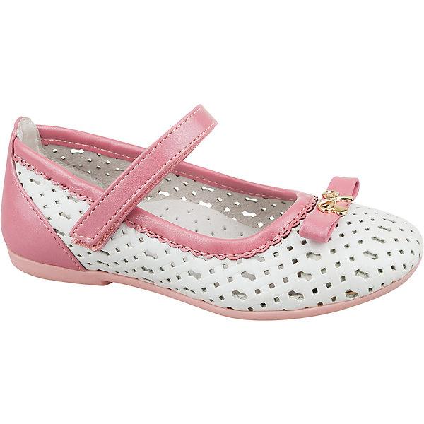 Туфли для девочки MURSUОбувь<br>Балетки - совершенно необходимая обувь для маленькой модницы. Туфельки Mursu (Мурсу) отлично смотрятся как с платьями, так и с джинсами на прогулке. У изящных балеток совсем маленький каблучок, благодаря чему осанка девочки не пострадает и такую обувь ребенку можно носить целый день. Туфельки с закругленным носком и перфорацией украшены замечательным бантиком. Они отлично держатся на ножке благодаря удобной липучке. Снаружи туфельки сделаны из красивой и износостойкой искусственной кожи, а внутри полностью отделаны натуральной кожей, что очень важно для здоровья и комфорта ножек. Стильные туфельки Mursu (Мурсу) прекрасно дополнят весенний образ девочки.<br><br>Дополнительная информация:<br><br>- Сезон: весна/лето;<br>- Подкладка из натуральной кожи;<br>- Материал верха: искусственная кожа;     <br>- Материал подошвы: TPR;                                                                              <br>- Стелька из натуральной кожи;                                        <br>- Лаконичный дизайн.<br>                                                         <br>Туфли для девочки Mursu (Мурсу) можно купить в нашем интернет-магазине.<br>Ширина мм: 227; Глубина мм: 145; Высота мм: 124; Вес г: 325; Цвет: белый; Возраст от месяцев: 48; Возраст до месяцев: 60; Пол: Женский; Возраст: Детский; Размер: 28,31,30,27,32,29; SKU: 4022589;