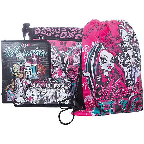 Подарочный набор с пеналом, Monster HighШкольные сумки<br>Подарочный набор с пеналом, Monster High (Монстр Хай) – этот наверняка придется по вкусу любительнице героев Monster High.<br>Девушки из Школы Монстров подготовили целый набор стильных аксессуаров! Всем, кто обожает все монстрическое и хочет начать новую четверть в «экипировке» в стиле Monster High просто необходим этот набор! Все предметы оформлены в стиле монстряшек, на всех изображены любимые героини. С таким фантастически монстростическим набором можно смело отправляться в школу и почувствовать себя одной из героинь школы Монстров. Высококачественные материалы и яркий дизайн делают этот набор замечательным подарком.<br><br>Дополнительная информация:<br><br>- В наборе: сумка школьная, мешок для обуви, пенал неопреновый широкий, папка для тетрадей<br>- Размер упаковки: 375 х 160 х 435 мм.<br>- Вес: 874 гр.<br><br>Подарочный набор с пеналом, Monster High (Монстр Хай) - ваша малышка будет в восторге от такого подарка!<br><br>Подарочный набор с пеналом, Monster High (Монстер Хай) можно купить в нашем интернет-магазине.<br>Ширина мм: 375; Глубина мм: 160; Высота мм: 435; Вес г: 874; Возраст от месяцев: 96; Возраст до месяцев: 144; Пол: Женский; Возраст: Детский; SKU: 4023023;