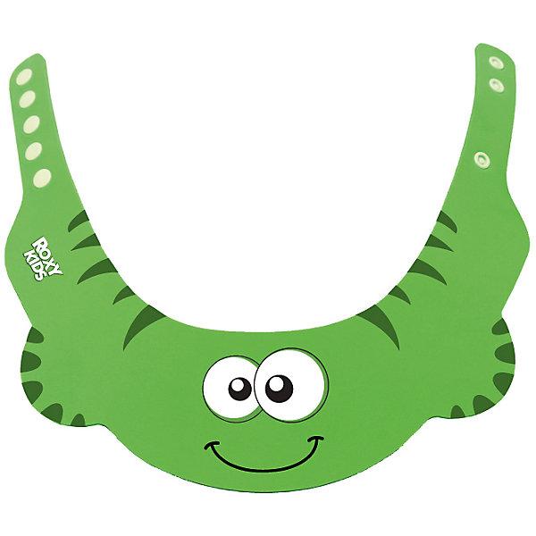 Защитный козырек для мытья головы, Roxy-Kids, зеленыйТовары для купания<br>Защитный козырек  для мытья головы, Roxy-Kids (Рокси-Кидс), зеленый для купания малышей  защитит глазки от мыла и шампуня. Наденьте его на голову ребенка так, чтобы волосы остались над полями козырька. Козырек имеет 3 удобные застежки-кнопки и забавный дизайн, что очень понравится малышу.<br><br>Дополнительная информация:<br>-Цвет: зеленый <br>-Материал: пластик<br>-Вес в упаковке: 50 г<br>-Размеры в упаковке (ДхШхВ): 300х250х5 мм<br><br>Надев козырек Рокси-Кидс на голову ребенка, шампунь не попадет ему в глаза, нос и уши, и Вы избавите малыша от неприятных моментов во время купания.<br><br>Защитный козырек  для мытья головы, Roxy-Kids (Рокси-Кидс), зеленый можно купить в нашем магазине.<br>Ширина мм: 300; Глубина мм: 250; Высота мм: 5; Вес г: 50; Цвет: зеленый; Возраст от месяцев: 6; Возраст до месяцев: 2147483647; Пол: Унисекс; Возраст: Детский; SKU: 4026286;