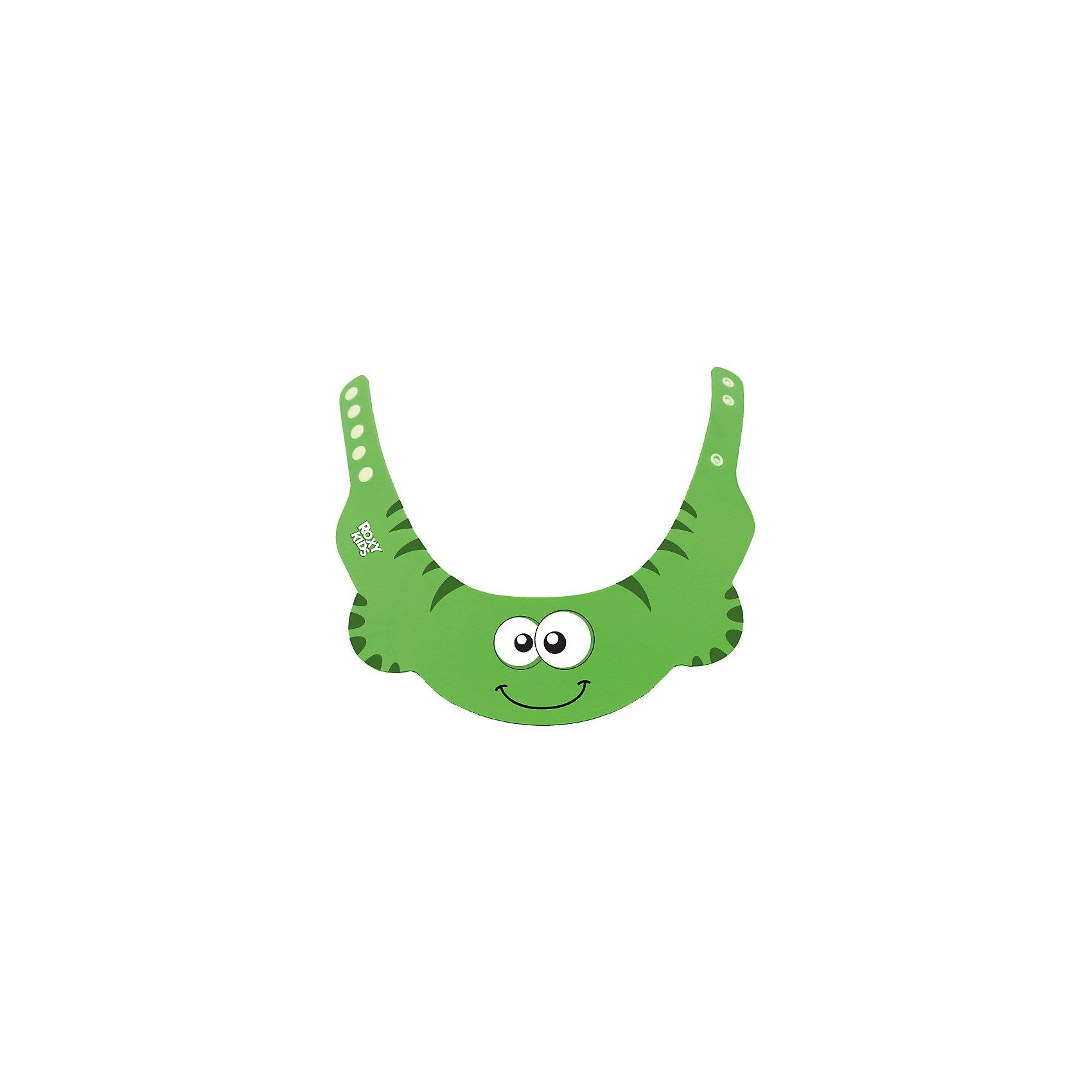 Защитный козырек для мытья головы, Roxy-Kids, зеленыйПрочие аксессуары<br>Защитный козырек  для мытья головы, Roxy-Kids (Рокси-Кидс), зеленый для купания малышей  защитит глазки от мыла и шампуня. Наденьте его на голову ребенка так, чтобы волосы остались над полями козырька. Козырек имеет 3 удобные застежки-кнопки и забавный дизайн, что очень понравится малышу.<br><br>Дополнительная информация:<br>-Цвет: зеленый <br>-Материал: пластик<br>-Вес в упаковке: 50 г<br>-Размеры в упаковке (ДхШхВ): 300х250х5 мм<br><br>Надев козырек Рокси-Кидс на голову ребенка, шампунь не попадет ему в глаза, нос и уши, и Вы избавите малыша от неприятных моментов во время купания.<br><br>Защитный козырек  для мытья головы, Roxy-Kids (Рокси-Кидс), зеленый можно купить в нашем магазине.<br><br>Ширина мм: 300<br>Глубина мм: 250<br>Высота мм: 5<br>Вес г: 50<br>Цвет: зеленый<br>Возраст от месяцев: 6<br>Возраст до месяцев: 2147483647<br>Пол: Унисекс<br>Возраст: Детский<br>SKU: 4026286