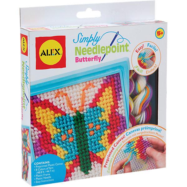 Набор для вышивания Бабочка, ALEXШитьё<br>Этот простой набор для вышивания по канве идеально подойдет для начинающих рукодельниц. Он позволит девочке создать свои первую картину. Вышивание развивает творческие способности, мелкую моторику и внимание. <br><br>Дополнительная информация:<br><br>- Комплектация: пластиковая канва с нанесенным на нее рисунком, пластмассовая рамка, безопасная пластмассовая игла, разноцветные нитки и простая инструкция.<br>- Размер упаковки: 24,7x3х21,5 см. <br>- Материал: пластик, нитки.<br><br>Набор для вышивания Бабочка, ALEX (Алекс) можно купить в нашем магазине.<br>Ширина мм: 220; Глубина мм: 32; Высота мм: 220; Вес г: 200; Возраст от месяцев: 60; Возраст до месяцев: 120; Пол: Женский; Возраст: Детский; SKU: 4027689;