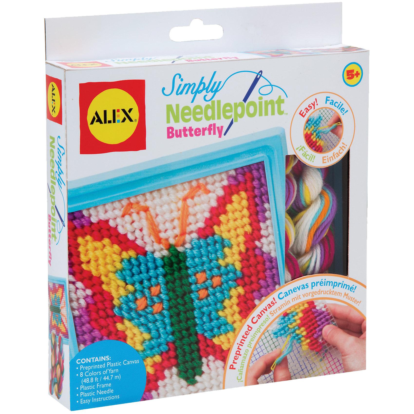 Набор для вышивания Бабочка, ALEXШитьё<br>Этот простой набор для вышивания по канве идеально подойдет для начинающих рукодельниц. Он позволит девочке создать свои первую картину. Вышивание развивает творческие способности, мелкую моторику и внимание. <br><br>Дополнительная информация:<br><br>- Комплектация: пластиковая канва с нанесенным на нее рисунком, пластмассовая рамка, безопасная пластмассовая игла, разноцветные нитки и простая инструкция.<br>- Размер упаковки: 24,7x3х21,5 см. <br>- Материал: пластик, нитки.<br><br>Набор для вышивания Бабочка, ALEX (Алекс) можно купить в нашем магазине.<br><br>Ширина мм: 220<br>Глубина мм: 32<br>Высота мм: 220<br>Вес г: 200<br>Возраст от месяцев: 60<br>Возраст до месяцев: 120<br>Пол: Женский<br>Возраст: Детский<br>SKU: 4027689