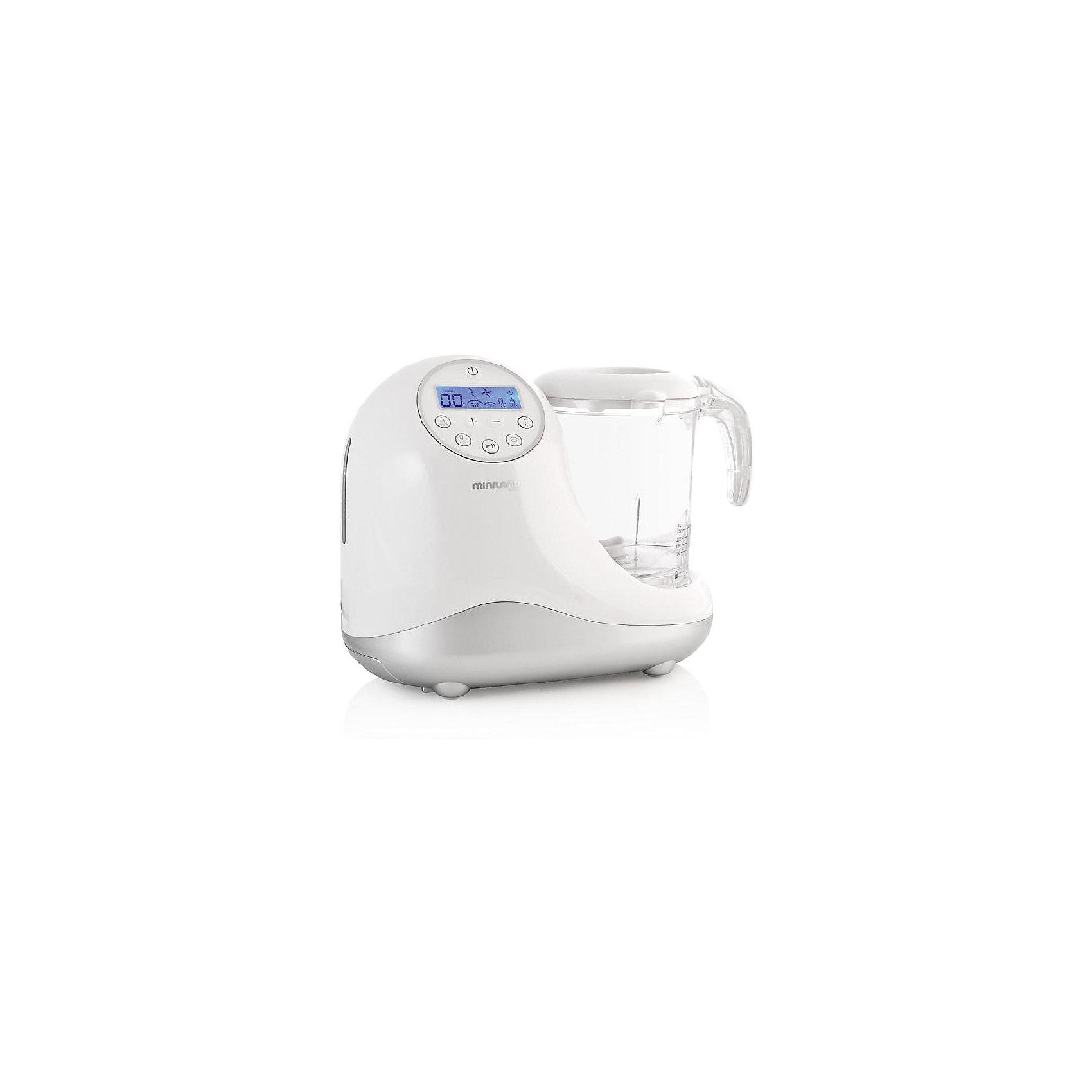 Кухонный комбайн 5 в 1 Chefy 5 Silver, MinilandБытовая техника для кухни<br>Характеристики товара:<br><br>• 3 отсека для раздельного приготовления продуктов.<br>• легко моется <br>• функция стерилизатора. <br>• функция размораживания<br>• визуальные и звуковые режимы предупреждения<br>• дисплей с подсветкой в нескольких вариантах<br>• дополнительный нижний ящик для хранения аксессуаров<br>• все составные части помещаются внутри большого стакана<br>• книга рецептов. <br>• все пластиковые элементы изготовлены без Бисфенола-А<br>• сумка для хранения<br>• размер: 27?23?16,5 см.<br>• страна-производитель: Испания<br>• габариты: 28 x 14 х 30 см<br>• вес: 2.84 кг.<br><br>Кухонный комбайн 5 в 1 имеет множество полезных функций для здорового приготовления детской пищи.<br><br>Быстро нагревает детские бутылочки и контейнеры для детского питания любого размера и формы.<br><br>Готовит и нагревает еду на пару, 2 уровня под разные виды блюд, сохраняет питательные вещества продуктов.<br><br>Измельчает, 2 скорости под разные виды продуктов.<br><br>Большой стакан (1л) может быть увеличен с помощью дополнительных секций.<br><br>Все контейнеры, секции и ножи можно мыть в посудомоечной машине.<br><br>Автоматическое подключение системы безопасности и перевод в режим ожидания при полном выпаривание воды. <br><br>Многофункциональный кухонный комбайн Chefy 5 Silver можно курпить в нашем интернет-магазине.<br><br>Ширина мм: 306<br>Глубина мм: 274<br>Высота мм: 231<br>Вес г: 2882<br>Цвет: серебряный<br>Возраст от месяцев: 0<br>Возраст до месяцев: 36<br>Пол: Унисекс<br>Возраст: Детский<br>SKU: 4027748