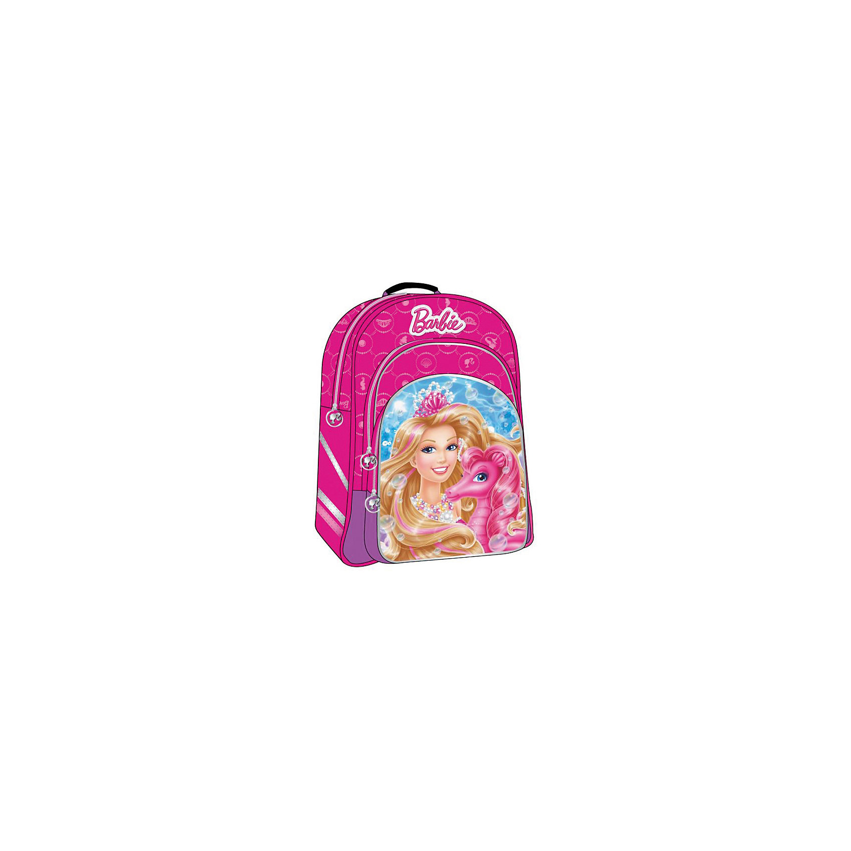 Школьный рюкзак облегченный, BarbieРюкзак с любимой героиней не оставит равнодушной ни одну девочку!  Регулируемые лямки с мягкими накладками не давят на плечи и правильно распределяют нагрузку на спину. Удобная спинка рюкзака адаптирована под анатомические особенности ребенка и не портит осанку.  Модель имеет одно вместительное отделение с разделителями и два наружных кармана: один побольше, другой -поменьше- для мелочей. Рюкзак выполнен из высококачественных прочных материалов, имеет облегченную конструкцию, подходящую для первоклассников и детей дошкольного возраста. <br><br>Дополнительная информация:<br><br>- Материал: полиэстер, текстиль, пластик.<br>- Размер: 38х19х43 см.<br>- Цвет:  розовый. <br>- Тип застежки: молния.<br>- Количество отделений: 1<br>- Количество карманов: 2<br>- Лямки регулируются по длине.<br>- Ортопедическая спинка.<br><br>Рюкзак облегченный Barbie (Барби),  Играем вместе можно купить в нашем магазине.<br><br>Ширина мм: 390<br>Глубина мм: 300<br>Высота мм: 300<br>Вес г: 580<br>Возраст от месяцев: 72<br>Возраст до месяцев: 144<br>Пол: Женский<br>Возраст: Детский<br>SKU: 4028865