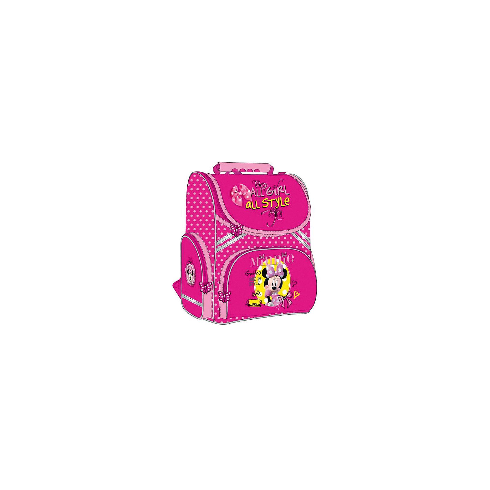 Рюкзак-ранец Минни Маус, DisneyЯркий розовый рюкзак с очаровательной мышкой обязательно понравится всем девочкам.  Рюкзак имеет облегченный корпус, светоотражающие элементы и регулируемые по длине лямки с мягкими накладками. Ортопедическая спинка со специальной дышащей системой обеспечивает комфорт и способствует улучшению осанки ребенка. Удобный механизм открывания позволит ребенку быстро и без посторонней помощи найти и вытащить из рюкзака все, что ему нужно. Модель имеет одно вместительное отделение с разделителями, передний карман на молнии, два боковых кармана для мелочей (один на молнии, другой из сетки).<br><br>Дополнительная информация:<br><br>- Материал: пластик, текстиль, полиэстер.<br>- Размер: 35 x 29x 16 см.<br>- Цвет: розовый.<br>- Тип застежки: молния.<br>- Количество отделений: 1<br>- Количество карманов: 3<br>- Ортопедическая спинка.<br>- Лямки регулируются по длине.<br>- Удобная ручка.<br>- Вес: 0,95кг.<br>- Подходит на рост: 122-134 см. <br><br>Рюкзак-ранец Минни Маус, Disney (Дисней, Minnie Mouse), можно купить в нашем магазине.<br><br>Ширина мм: 850<br>Глубина мм: 370<br>Высота мм: 290<br>Вес г: 950<br>Возраст от месяцев: 72<br>Возраст до месяцев: 120<br>Пол: Женский<br>Возраст: Детский<br>SKU: 4028886