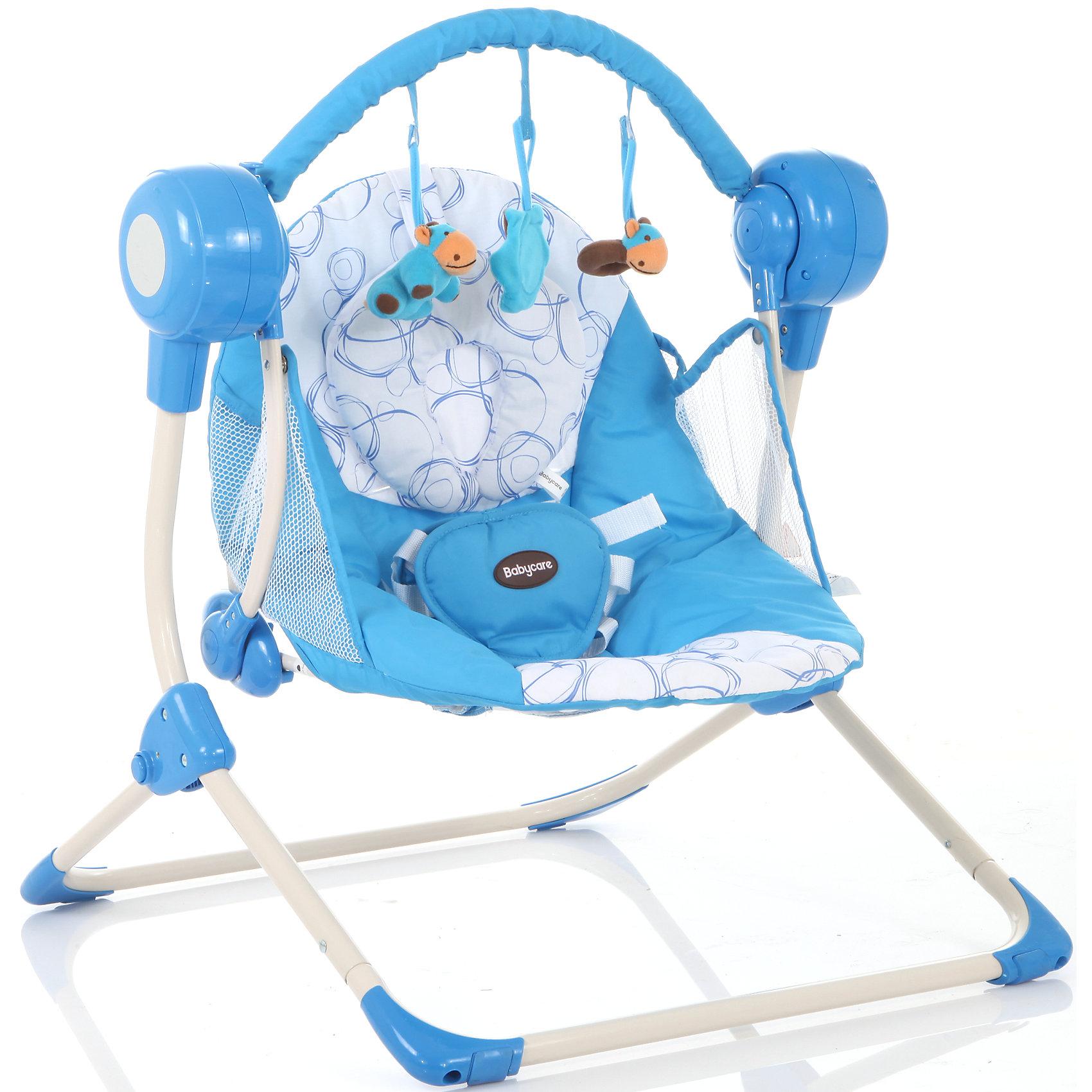 Кресло-качели Balancelle, Baby Care, синийКресла-качалки<br>Характеристики кресла-качели Balancelle Baby Care:<br><br>• регулируется угол наклона спинки: 2 положения;<br>• предусмотрено 5 скоростей качания;<br>• музыкальный блок: 16 мелодий;<br>• регулятор громкости;<br>• таймер, 10,15,30 минут, автоматическое отключение;<br>• наличие 5-ти точечных ремней безопасности, мягкий паховый ограничитель;<br>• съемная дуга с подвесными игрушками;<br>• чехол кресла-качели можно снять и постирать при температуре 30 градусов;<br>• материал: алюминий, пластик, полиэстер, резиновые накладки на опорной конструкции;<br>• компактность в сложенном виде.<br><br>Размер в разложенном виде: 50х61х60 см<br>Размер сидения: 48х68 см<br>Вес: 3,2 кг<br>Допустимый вес ребенка: до 12 кг, возраст - до 8 месяцев.<br><br>Кресло-качели Baby Care Balancelle с вибро-музыкальным блоком устанавливается ровную поверхность. Для безопасности ребенка предусмотрены ремни безопасности. Во время пребывания в креслице, малыш изучает и рассматривает мягкие подвесные игрушки.<br><br>Комплектация:<br><br>• кресло-качели Balancelle;<br>• вибро-музыкальный блок;<br>• дуга с подвесными игрушками;<br>• съемная подушечка-подголовник, крепится на липучке;<br>• сетевой адаптер;<br>• инструкция.<br><br>Кресло-качели Balancelle, Baby Care, синий можно купить в нашем интернет-магазине.<br><br>Ширина мм: 620<br>Глубина мм: 470<br>Высота мм: 370<br>Вес г: 10800<br>Возраст от месяцев: 0<br>Возраст до месяцев: 8<br>Пол: Мужской<br>Возраст: Детский<br>SKU: 4028901