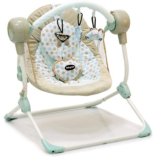 Кресло-качели Balancelle, Baby Care, кремовыйДетские качели для дома<br>Характеристики кресла-качели Balancelle Baby Care:<br><br>• регулируется угол наклона спинки: 2 положения;<br>• предусмотрено 5 скоростей качания;<br>• музыкальный блок: 16 мелодий;<br>• регулятор громкости;<br>• таймер, 10,15,30 минут, автоматическое отключение;<br>• наличие 5-ти точечных ремней безопасности, мягкий паховый ограничитель;<br>• съемная дуга с подвесными игрушками;<br>• чехол кресла-качели можно снять и постирать при температуре 30 градусов;<br>• материал: алюминий, пластик, полиэстер, резиновые накладки на опорной конструкции;<br>• компактность в сложенном виде.<br><br>Размер в разложенном виде: 50х61х60 см<br>Размер сидения: 48х68 см<br>Вес: 3,2 кг<br>Допустимый вес ребенка: до 12 кг, возраст - до 8 месяцев.<br><br>Кресло-качели Baby Care Balancelle с вибро-музыкальным блоком устанавливается ровную поверхность. Для безопасности ребенка предусмотрены ремни безопасности. Во время пребывания в креслице, малыш изучает и рассматривает мягкие подвесные игрушки.<br><br>Комплектация:<br><br>• кресло-качели Balancelle;<br>• вибро-музыкальный блок;<br>• дуга с подвесными игрушками;<br>• съемная подушечка-подголовник, крепится на липучке;<br>• сетевой адаптер;<br>• инструкция.<br><br>Кресло-качели Balancelle, Baby Care, кремовый можно купить в нашем интернет-магазине.<br><br>Ширина мм: 620<br>Глубина мм: 470<br>Высота мм: 370<br>Вес г: 10800<br>Возраст от месяцев: 0<br>Возраст до месяцев: 8<br>Пол: Унисекс<br>Возраст: Детский<br>SKU: 4028902