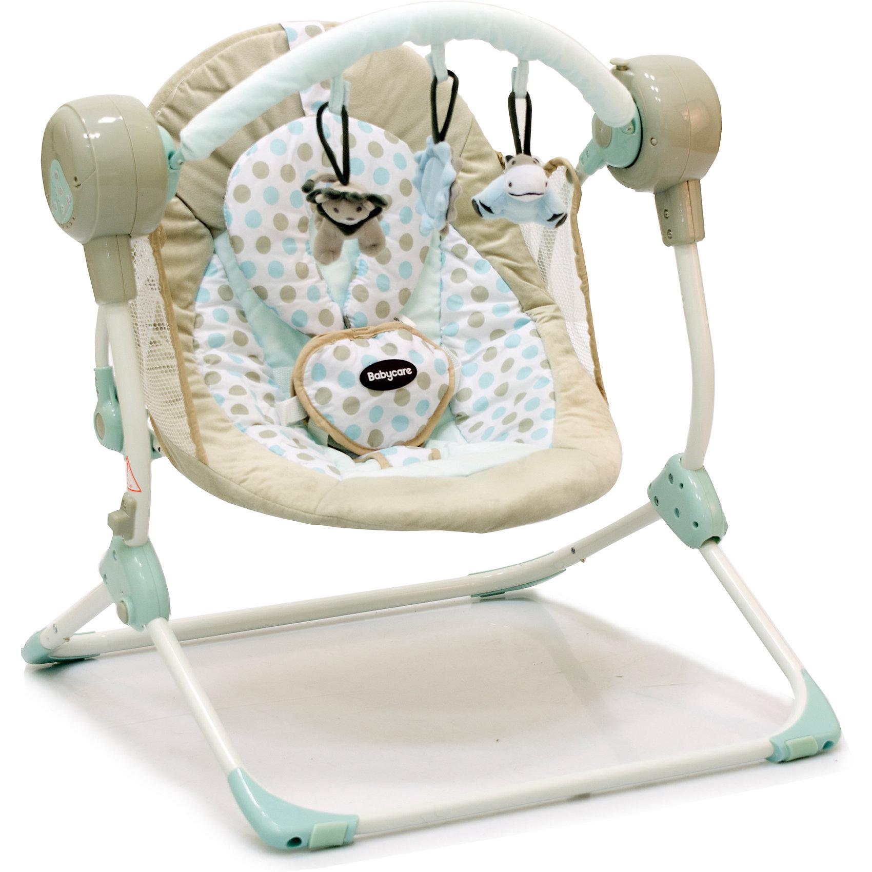 Кресло-качели Balancelle, Baby Care, кремовыйКресла-качалки<br>Характеристики кресла-качели Balancelle Baby Care:<br><br>• регулируется угол наклона спинки: 2 положения;<br>• предусмотрено 5 скоростей качания;<br>• музыкальный блок: 16 мелодий;<br>• регулятор громкости;<br>• таймер, 10,15,30 минут, автоматическое отключение;<br>• наличие 5-ти точечных ремней безопасности, мягкий паховый ограничитель;<br>• съемная дуга с подвесными игрушками;<br>• чехол кресла-качели можно снять и постирать при температуре 30 градусов;<br>• материал: алюминий, пластик, полиэстер, резиновые накладки на опорной конструкции;<br>• компактность в сложенном виде.<br><br>Размер в разложенном виде: 50х61х60 см<br>Размер сидения: 48х68 см<br>Вес: 3,2 кг<br>Допустимый вес ребенка: до 12 кг, возраст - до 8 месяцев.<br><br>Кресло-качели Baby Care Balancelle с вибро-музыкальным блоком устанавливается ровную поверхность. Для безопасности ребенка предусмотрены ремни безопасности. Во время пребывания в креслице, малыш изучает и рассматривает мягкие подвесные игрушки.<br><br>Комплектация:<br><br>• кресло-качели Balancelle;<br>• вибро-музыкальный блок;<br>• дуга с подвесными игрушками;<br>• съемная подушечка-подголовник, крепится на липучке;<br>• сетевой адаптер;<br>• инструкция.<br><br>Кресло-качели Balancelle, Baby Care, кремовый можно купить в нашем интернет-магазине.<br><br>Ширина мм: 620<br>Глубина мм: 470<br>Высота мм: 370<br>Вес г: 10800<br>Возраст от месяцев: 0<br>Возраст до месяцев: 8<br>Пол: Унисекс<br>Возраст: Детский<br>SKU: 4028902