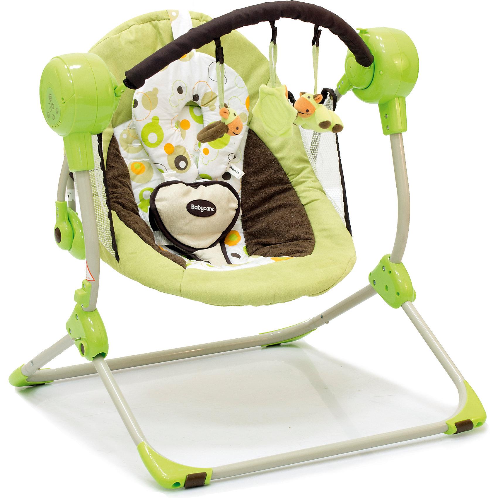 Кресло-качели Balancelle, Baby Care, зеленыйBaby Care Balancelle (Беби Кэа Балансель) - непревзойденная новинка для активных родителей! Эти мобильные качели очень легко всюду брать с собой: они очень компактно складываются одним движением и могут работать как от сети, так и от батареек. В них малыш с удовольствием будет проводить время, наблюдая за происходящим и слушая чудесные мелодии. Эти качели продуманы до мелочей, чтобы малыш с пользой проводил время или спал пока мама отдыхает или занята делами. Вы можете скорость качания, которая идеально подойдет Вашему малышу для засыпания или развлечения. А когда малыш уснет, качели можно остановить, разложить спинку и они превратятся в удобнейшую колыбельку. Мягкое удобное сиденье и безопасные вставки из сетки по краям позволят малышу комфортно и безопасно расположиться в кресле. Развлечь бодрствующего кроху можно с помощью прекрасных звуков и  съемных игрушек, подвешенных на дуге!  <br> <br>Дополнительная информация:<br><br>- Устойчивый металлический каркас;<br>- Качели предназначены для малышей весом до 12 кг;<br>- 2 положения спинки;<br>- Электронные качели с регулируемой громкостью звука: 16 мелодий;<br>- Пять скоростей качания и автоматическое отключение (10,15,30 мин);<br>- Легко складываются одной рукой;<br>- Защитная сетка по краям;<br>- В сложенном состоянии не занимают много места;<br>- Дуга с игрушками;<br>- Нескользящие обрезиненные ножки;<br>- Надежные пятиточечные ремни безопасности с мягкими накладками;<br>- Съемную обивку можно стирать при 30 градусах;<br>- Могут работать от сети и на батарейках;<br>- Цвет: зеленый;<br>- Размер в разложенном виде: 50 х 61 х 60 см;<br>- Размер сидения: 48 х 68 см;<br>- Вес: 3,2 кг<br><br>Кресло-качели Balancelle, Baby Care ( Балансель, Беби Кэа), зеленые можно купить в нашем интернет-магазине.<br><br>Ширина мм: 620<br>Глубина мм: 470<br>Высота мм: 370<br>Вес г: 10800<br>Возраст от месяцев: 0<br>Возраст до месяцев: 8<br>Пол: Унисекс<br>Возраст: Детский<br>SKU: 4028903