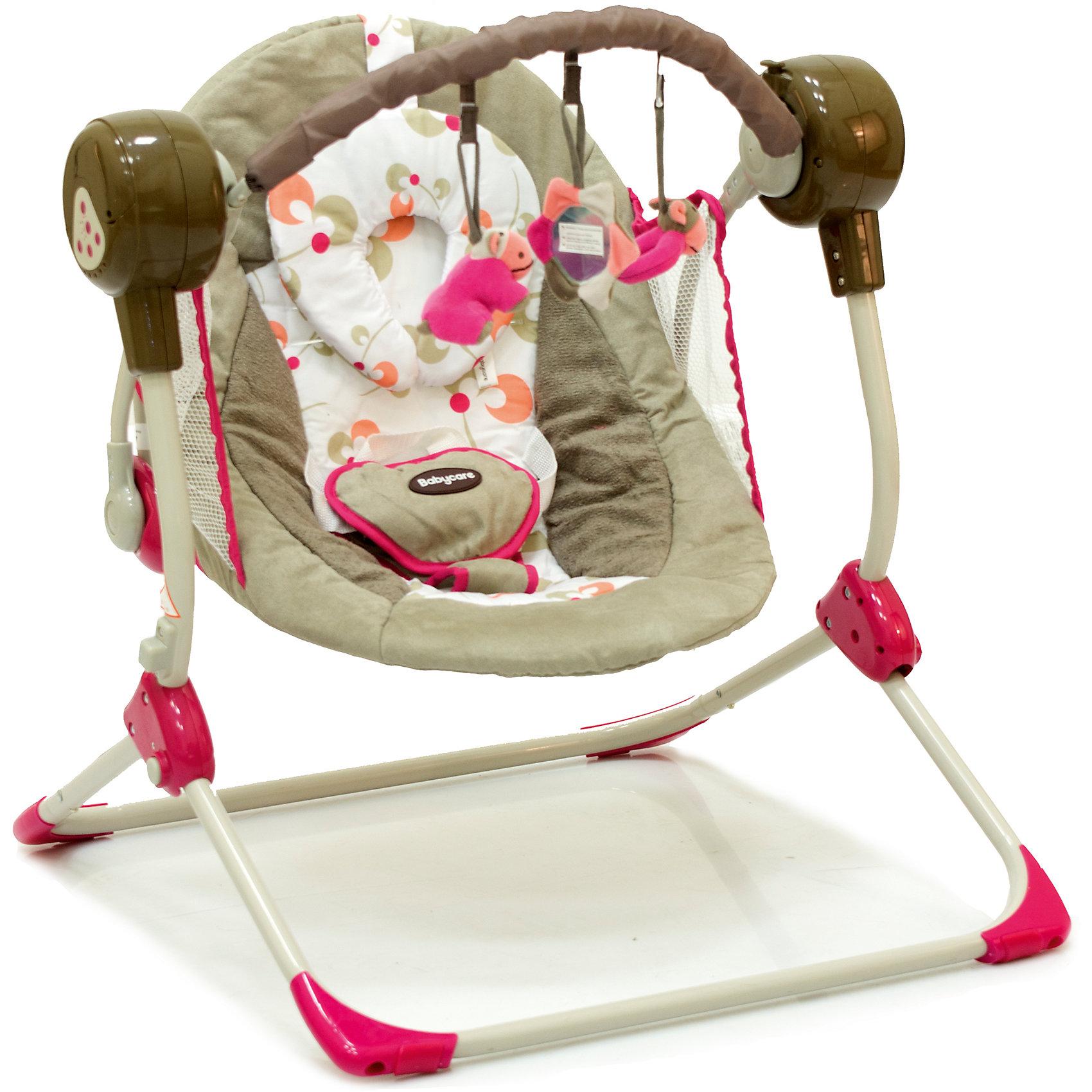 Кресло-качели Balancelle, Baby Care, розовыйХарактеристики кресла-качели Balancelle Baby Care:<br><br>• регулируется угол наклона спинки: 2 положения;<br>• предусмотрено 5 скоростей качания;<br>• музыкальный блок: 16 мелодий;<br>• регулятор громкости;<br>• таймер, 10,15,30 минут, автоматическое отключение;<br>• наличие 5-ти точечных ремней безопасности, мягкий паховый ограничитель;<br>• съемная дуга с подвесными игрушками;<br>• чехол кресла-качели можно снять и постирать при температуре 30 градусов;<br>• материал: алюминий, пластик, полиэстер, резиновые накладки на опорной конструкции;<br>• компактность в сложенном виде.<br><br>Размер в разложенном виде: 50х61х60 см<br>Размер сидения: 48х68 см<br>Вес: 3,2 кг<br>Допустимый вес ребенка: до 12 кг, возраст - до 8 месяцев.<br><br>Кресло-качели Baby Care Balancelle с вибро-музыкальным блоком устанавливается ровную поверхность. Для безопасности ребенка предусмотрены ремни безопасности. Во время пребывания в креслице, малыш изучает и рассматривает мягкие подвесные игрушки.<br><br>Комплектация:<br><br>• кресло-качели Balancelle;<br>• вибро-музыкальный блок;<br>• дуга с подвесными игрушками;<br>• съемная подушечка-подголовник, крепится на липучке;<br>• сетевой адаптер;<br>• инструкция.<br><br>Кресло-качели Balancelle, Baby Care, розовый можно купить в нашем интернет-магазине.<br><br>Ширина мм: 620<br>Глубина мм: 470<br>Высота мм: 370<br>Вес г: 10800<br>Возраст от месяцев: 0<br>Возраст до месяцев: 8<br>Пол: Женский<br>Возраст: Детский<br>SKU: 4028904
