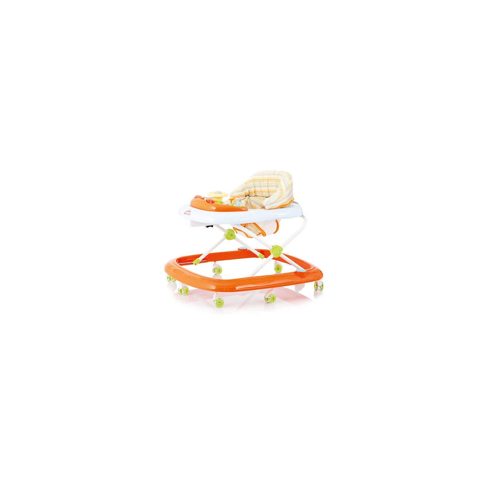 Ходунки Flip, Baby Care, оранжевыйХодунки<br>Характеристики ходунков Baby Care Flip:<br><br>• музыкальная панель;<br>• сиденье мягкое, с жесткой спинкой и паховым ограничителем;<br>• чехлы съемные, стирка при температуре 30 градусов;<br>• высота сиденья регулируется в 4-х положениях;<br>• защита от произвольного складывания;<br>• сдвоенные поворотные колеса со стопорами, 8 пар, материал – силикон;<br>• тип складывания ходунков: гармошка;<br>• размер ходунков в разложенном виде: 64х60х54 см;<br>• размер ходунков в сложенном виде: 64х60х28 см;<br>• вес ходунков: 2,8 кг;<br>• допустимый вес ребенка: до 12 кг;<br>• возраст ребенка: от 6 до 18 месяцев;<br>• размер упаковки: 54x10x58 см;<br>• вес упаковки: 3,8 кг.<br><br>Устойчивая конструкция ходунков Baby Care Flip позволяет полностью обезопасить кроху от опрокидывания, когда малыш находится в креслице ходунков. Съемная музыкальная панель развивает логическое мышление, слуховое восприятие. Складная и компактная модель – ходунки удобно хранить в сложенном виде, не занимают много места. <br><br>Ходунки Flip, Baby Care, оранжевые можно купить в нашем интернет-магазине.<br><br>Ширина мм: 640<br>Глубина мм: 580<br>Высота мм: 100<br>Вес г: 3000<br>Возраст от месяцев: 6<br>Возраст до месяцев: 180<br>Пол: Унисекс<br>Возраст: Детский<br>SKU: 4028918