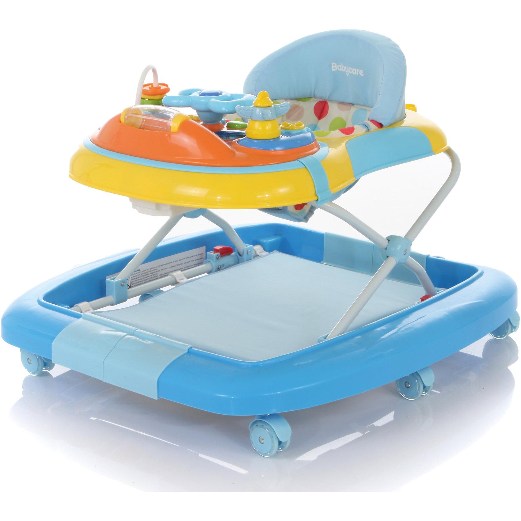 Ходунки Blues, Baby Care, синийХодунки<br>Характеристики ходунков Baby Care Blues:<br><br>• ходунки 2 в 1, трансформируются в качалку;<br>• съемная панель с игровыми элементами и музыкальным блоком;<br>• имеется батут под ножками малыша, съемный, выполнен в виде коврика;<br>• сиденье мягкое, с жесткой спинкой и паховым ограничителем;<br>• чехлы съемные, стирка при температуре 30 градусов;<br>• высота сиденья регулируется в 3-х положениях;<br>• защита от произвольного складывания;<br>• сдвоенные поворотные колеса со стопорами, 6 пар, материал – силикон;<br>• тип складывания ходунков: гармошка;<br>• размер ходунков в разложенном виде: 66х74х52 см;<br>• размер ходунков в сложенном виде: 66х74х26 см;<br>• вес ходунков: 5,1 кг;<br>• допустимый вес ребенка: до 12 кг;<br>• возраст ребенка: от 6 до 18 месяцев;<br>• размер упаковки: 67х74х14 см;<br>• вес упаковки: 6 кг.<br><br>Ходунки-качалка 2в1 используются как качалка с мягким сиденьем и как ходунки с игровой панелью и матрасиком-батутом. Устойчивая конструкция ходунков Baby Care Blues позволяет полностью обезопасить кроху от опрокидывания, когда малыш находится в креслице ходунков. Съемная музыкальная панель развивает логическое мышление, слуховое восприятие. Складная и компактная модель – ходунки удобно хранить в сложенном виде, не занимают много места. <br><br>Ходунки Blues, Baby Care, синие можно купить в нашем интернет-магазине.<br><br>Ширина мм: 670<br>Глубина мм: 740<br>Высота мм: 140<br>Вес г: 6300<br>Возраст от месяцев: 6<br>Возраст до месяцев: 180<br>Пол: Мужской<br>Возраст: Детский<br>SKU: 4028924