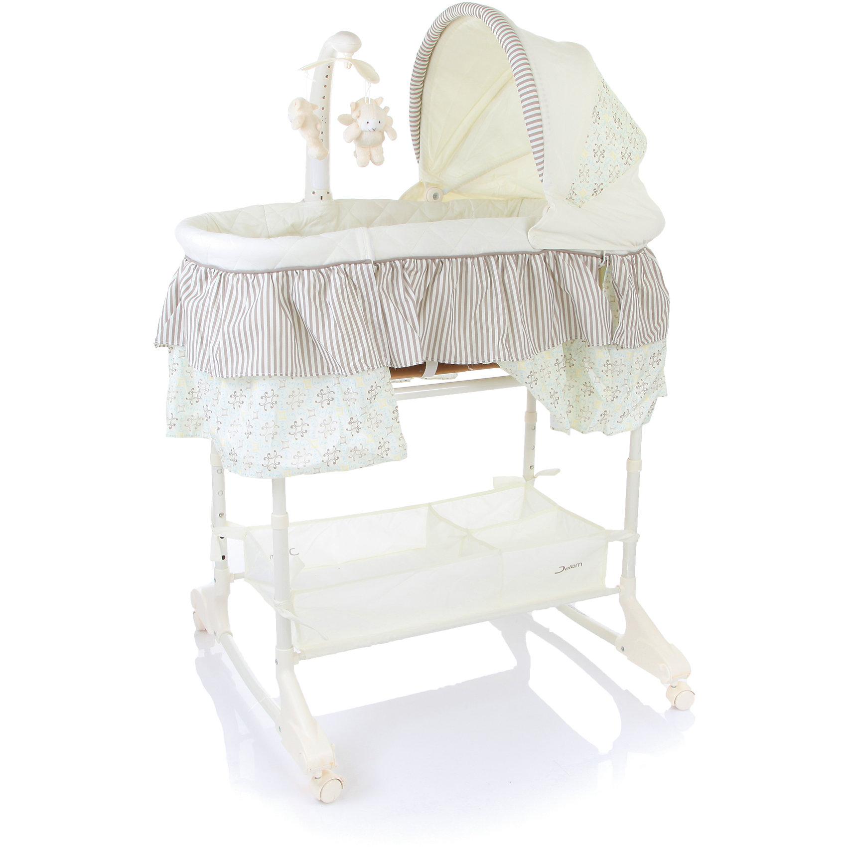 Кроватка-люлька Sweet Dream, Jetem, серыйИдеи подарков<br>Sweet Dream Jetem (Жетем) - это настоящее уютное гнездышко для малыша и возможность комфортно и спокойно выспаться для мамы. Люлька специально предназначена, чтобы малыш был максимально доступен во время ночных кормлений. Откидной бортик поможет не вставая с кровати иметь доступ к малышу. Вы легко сможете подобрать необходимую высоту люльки, чтобы она идеально подходила к высоте родительской кровати и при необходимости закрепить люльку ремнями. Кроватка - люлька очень мобильная благодаря колесам, которые при необходимости можно снять. Кроватка-люлька расширенной комплектации имеет все необходимое, чтобы развлечь малыша когда он бодрствует или подготовить ко сну: съемный пульт управления, модуль с игрушками на карусели, виброблок, ночник, музыкальный блок. Кроме того на люльку можно закрепить съемный капор. Мам порадует также и то, что под люлькой есть корзинка для всех необходимых принадлежностей.<br><br>Дополнительная информация:<br><br>- В комплекте: кроватка-люлька, виброблок, ночник, мигающие огоньки, музыкальный блок, съемный капор.<br>- Откидные бортики;<br>- Ремень для крепления к родительской кровати;<br>- Регулировка высоты люльки от пола в 5 положениях;<br>- Съемные колеса;<br>- Корзина для необходимых вещей;<br>- Цвет: серый;<br>- Ширина колесной базы: 73 см;<br>- Размер спального места: 40 х 83 см;<br>- Высота от пола до 1 уровня: 60 см, до 5 уровня: 80 см;<br>- Размер колыбели: 80 х 43 х 24 см;<br>- Вес: 3 кг<br><br>Кроватку-люльку  Sweet Dream , Jetem (Жетем), серую можно купить в нашем интернет-магазине.<br><br>Ширина мм: 890<br>Глубина мм: 490<br>Высота мм: 160<br>Вес г: 8000<br>Цвет: серый<br>Возраст от месяцев: 0<br>Возраст до месяцев: 12<br>Пол: Унисекс<br>Возраст: Детский<br>SKU: 4028931