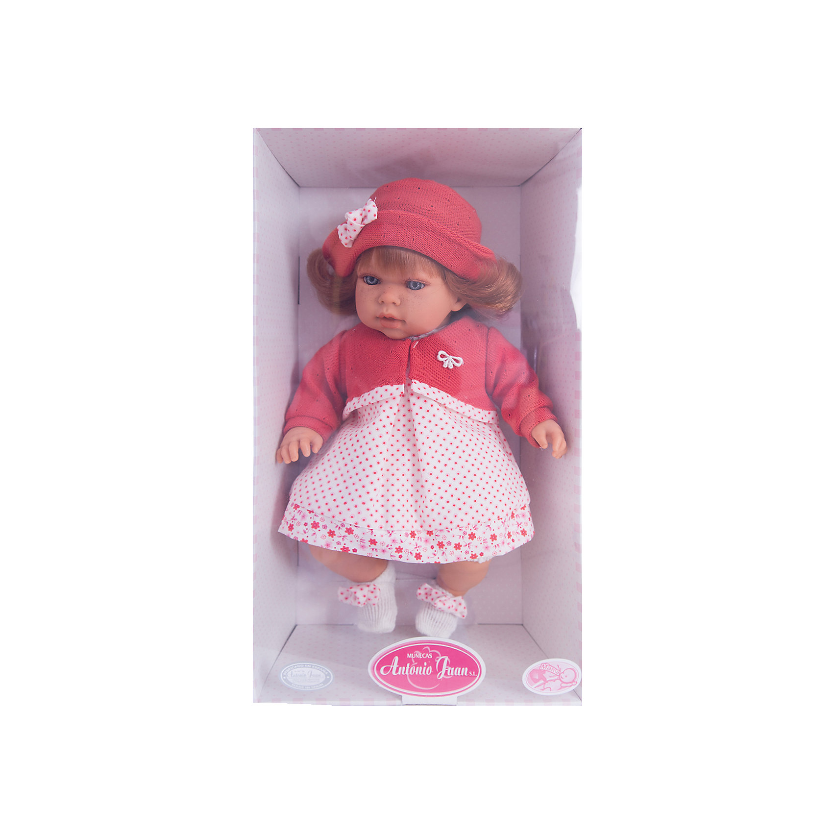 Кукла Памела в красном, 37 см, Munecas Antonio JuanИнтерактивные куклы<br>Очаровательная малышка Памела, Munecas Antonio Juan (Мунекас Антонио Хуан), покорит не только детей но даже их родителей. Куколка выглядит как настоящая маленькая девочка, а ее трогательный внешний вид вызывает только самые положительные и добрые эмоции. Все куклы Антонио Мунекас производятся в Испании в маленьком городе Аликанте и отличаются высоким качеством и потрясающим сходством с настоящими младенцами. В коллекции представлены куклы разных возрастов, как новорожденных так и детей постарше. Все детали тщательно проработаны, пропорции идентичны строению маленького ребенка. В создании кукол и одежды для них принимали участие известные европейские дизайнеры, поэтому каждая куколка имеет свой неповторимый индивидуальный образ и чудесный модный наряд, сшитый вручную.<br><br>У куклы Памелы милое детское личико и мягкие рыжие волосы, за которыми приятно ухаживать и причесывать. Искусно выполненные детали, такие как складочки на ручках и ножках, пушистые ресницы, пухлые щечки, придают игрушке трогательный и реалистичный вид. Туловище куклы мягконабивное и маленькая хозяйка будет с удовольствием обнимать и тискать ее. Если нажать кукле на животик один раз - она засмеется, второй раз - скажет мама, третий раз - скажет папа. У Памелы подвижные голова, ручки и ножки, изготовленные из высококачественного эластичного винила, глазки не закрываются. Куколка одета в симпатичное красное платьице в горошек, красную кофточку и модную красную шляпку с бантиком, на ножах белые носочки. Эта чудесная милая куколка станет любимицей Вашей девочки и будет развивать в ней доброту, внимание и заботу.<br><br>Дополнительная информация:<br><br>- Материал: текстиль, винил.<br>- Требуются батарейки: 3 х АА (входят в комплект).<br>- Высота куклы: 37 см.<br>- Размер упаковки: 11,5 х 25 х 44 см.<br>- Вес: 1,32 кг.<br><br>Куклу Памела в красном, Munecas Antonio Juan (Мунекас Антонио Хуан), можно купить в нашем интернет-магази