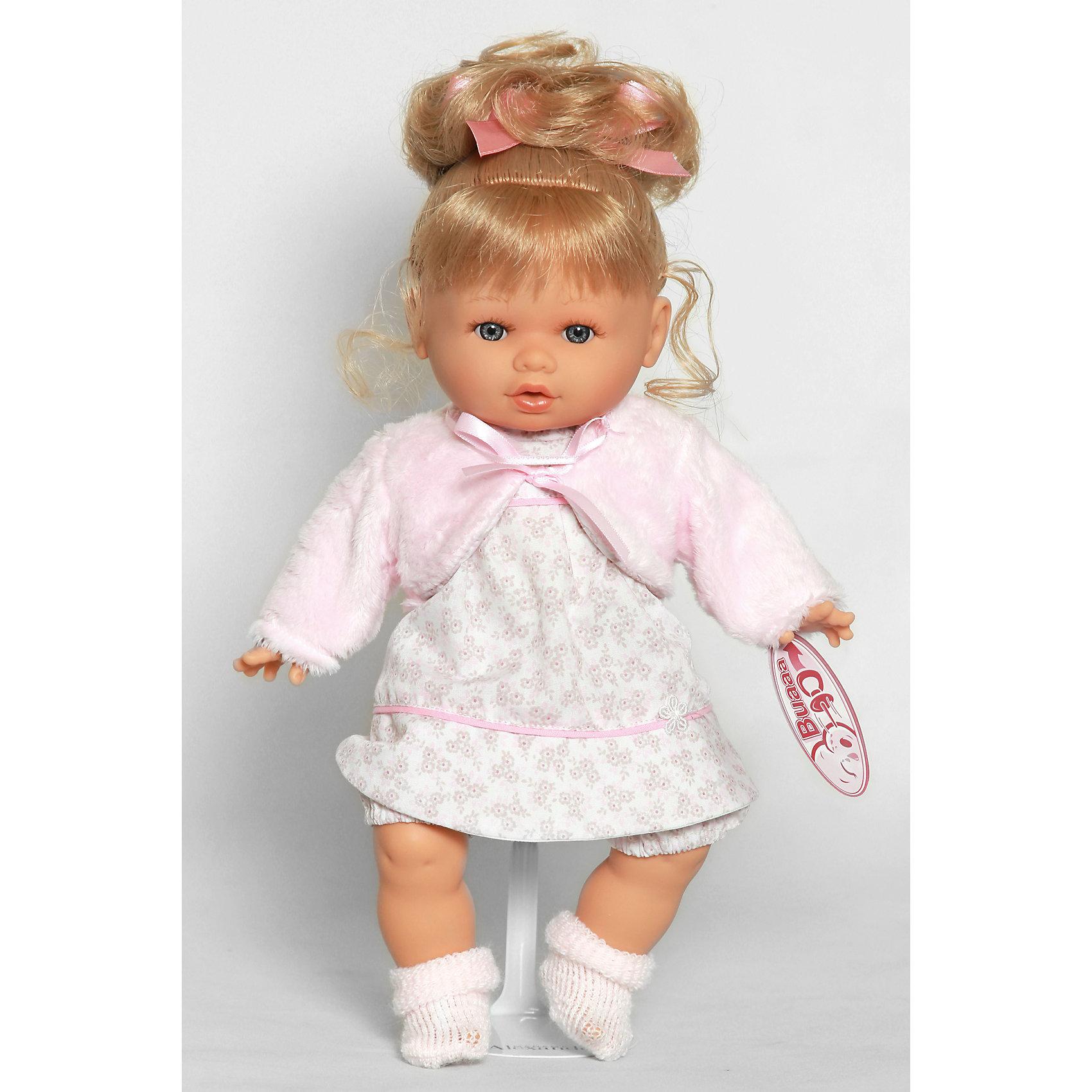 Кукла Леонора в розовом, 33 см, Munecas Antonio JuanОчаровательная малышка Леонора, Munecas Antonio Juan (Мунекас Антонио Хуан), покорит не только детей но даже их родителей. Куколка выглядит как настоящая маленькая девочка, а ее трогательный внешний вид вызывает только самые положительные и добрые эмоции. Все куклы Антонио Мунекас производятся в Испании в маленьком городе Аликанте и отличаются высоким качеством и потрясающим сходством с настоящими младенцами. В коллекции представлены куклы разных возрастов, как новорожденных так и детей постарше. Все детали тщательно проработаны, пропорции идентичны строению маленького ребенка. В создании кукол и одежды для них принимали участие известные европейские дизайнеры, поэтому каждая куколка имеет свой неповторимый индивидуальный образ и чудесный модный наряд, сшитый вручную.<br><br>У куклы Леоноры милое детское личико и мягкие светлые волосы, уложенные в красивую прическу, их можно мыть шампунем и расчесывать. Искусно выполненные детали, такие как складочки на ручках и ножках, пушистые реснички, пухлые щечки и губки, придают игрушке трогательный и реалистичный вид. Туловище куклы мягконабивное и маленькая хозяйка будет с удовольствием обнимать и тискать ее. Куколка умеет плакать, предложите ей соску (входит в комплект) и малышка успокоится. У Леоноры подвижные ручки и ножки, изготовленные из высококачественного эластичного винила, глазки не закрываются. Куколка одета в симпатичное белое платьице в розовый цветочек и розовую кофточку, на ножках теплые носочки. Эта чудесная милая куколка станет любимицей Вашей девочки и будет воспитывать в ней доброту, внимание и заботу.<br><br>Дополнительная информация:<br><br>- В комплекте: кукла, одежда, соска. <br>- Материал: текстиль, винил.<br>- Требуются батарейки: 3 х АА 1,5V (входят в комплект).<br>- Высота куклы: 33 см.<br>- Размер упаковки: 12 x 34 x 19 см.<br>- Вес: 0,782 кг.<br><br>Куклу Леонора в розовом, Munecas Antonio Juan (Мунекас Антонио Хуан), можно купить в нашем интерн