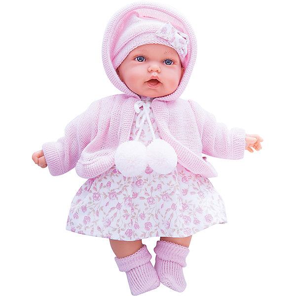 Кукла Азалия в розовом, 27 см, Munecas Antonio JuanКуклы<br>Очаровательная малышка Азалия, Munecas Antonio Juan (Мунекас Антонио Хуан), покорит не только детей но даже их родителей. Куколка выглядит как настоящая маленькая девочка, а ее трогательный внешний вид вызывает только самые положительные и добрые эмоции. Все куклы Антонио Мунекас производятся в Испании в маленьком городе Аликанте и отличаются высоким качеством и потрясающим сходством с настоящими младенцами. В коллекции представлены куклы разных возрастов, как новорожденных так и детей постарше. Все детали тщательно проработаны, пропорции идентичны строению маленького ребенка. В создании кукол и одежды для них принимали участие известные европейские дизайнеры, поэтому каждая куколка имеет свой неповторимый индивидуальный образ и чудесный модный наряд, сшитый вручную.<br><br>У куклы Азалии милое детское личико и мягкие темные волосы, за которыми приятно ухаживать и расчесывать. Искусно выполненные детали, такие как складочки на ручках и ножках, пушистые реснички, пухлые щечки и губки, придают игрушке трогательный и реалистичный вид. Туловище куклы мягконабивное и маленькая хозяйка будет с удовольствием обнимать и тискать ее. Если нажать кукле на животик один раз - она засмеется, второй раз - скажет мама, третий раз - скажет папа. У Азалии подвижные ручки и ножки, изготовленные из высококачественного эластичного винила, глазки не закрываются. Куколка одета в симпатичное платьице с цветочным рисунком, теплую нежно-розовую кофточку с помпонами и шапочку с бантиком, на ножках теплые розовые пинетки. Эта чудесная милая куколка станет любимицей Вашей девочки и будет воспитывать в ней доброту, внимание и заботу.<br><br>Дополнительная информация:<br><br>- Материал: текстиль, винил.<br>- Требуются батарейки: 3 х АА 1,5V (входят в комплект).<br>- Высота куклы: 27 см.<br>- Размер упаковки: 17,5 x 31 x 10 см.<br>- Вес: 0,65 кг.<br><br>Куклу Азалия в розовом, Munecas Antonio Juan (Мунекас Антонио Хуан), можно купить в на