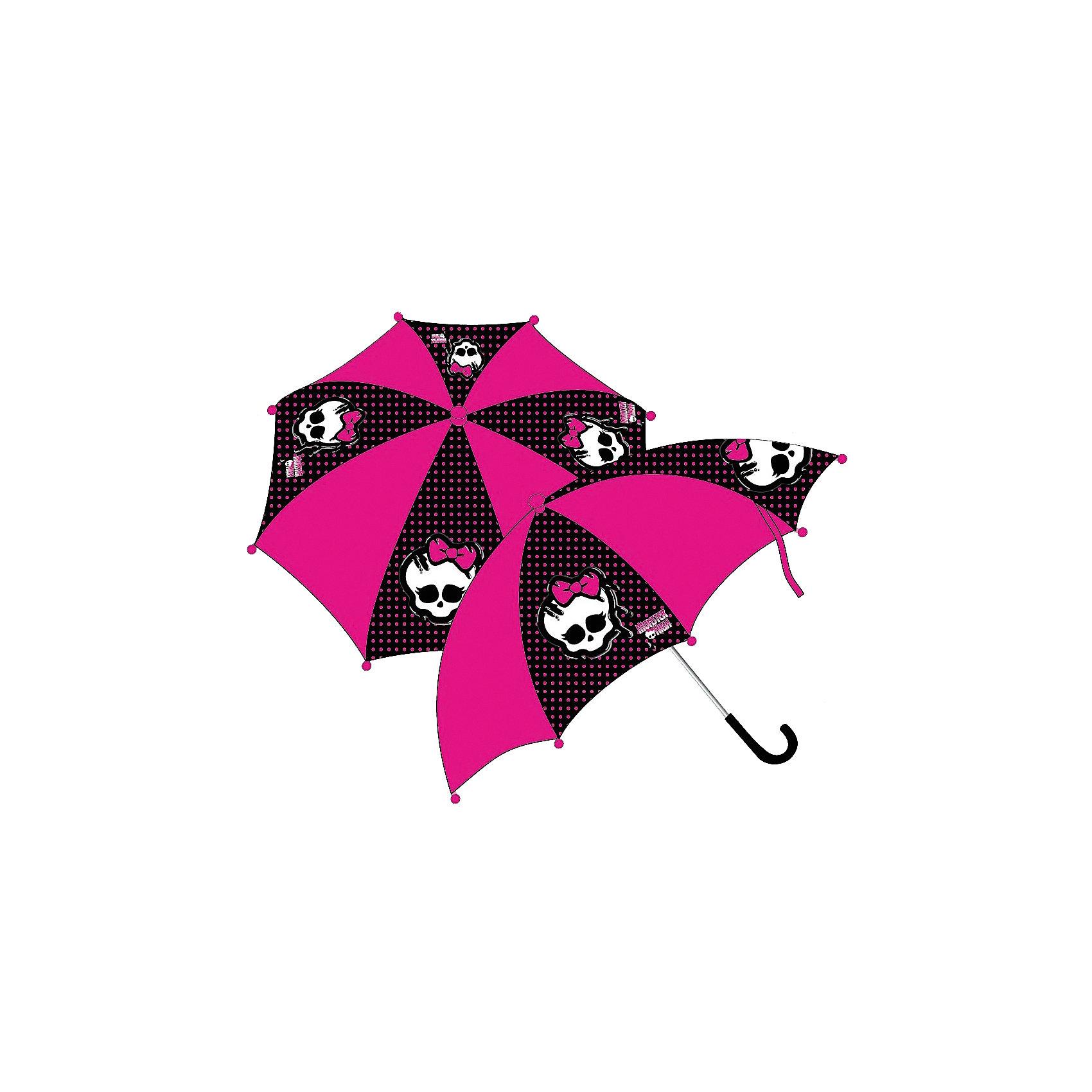 Зонт-трость, Monster HighЗонты детские<br>Компактный детский зонтик-трость станет замечательным подарком для Вашего чада и защитит его не только от дождя, но и от солнца. Красочный дизайн зонтика поднимет настроение и станет незаменимым атрибутом прогулки. Ребенок сможет сам открывать и закрывать зонтик, благодаря легкому механизму, а оригинальная расцветка зонтика привлечет к себе внимание.<br>Характеристики:<br>Диаметр купола: 68 см.<br>Длина в сложенном виде: 57 см.<br>Количество спиц: 8 шт.<br>Тип механизма: механический (открывается/закрывается вручную).<br>Материал: пластик, полиэстер, металл.<br><br>Ширина мм: 170<br>Глубина мм: 157<br>Высота мм: 67<br>Вес г: 117<br>Возраст от месяцев: 60<br>Возраст до месяцев: 192<br>Пол: Унисекс<br>Возраст: Детский<br>SKU: 4030715