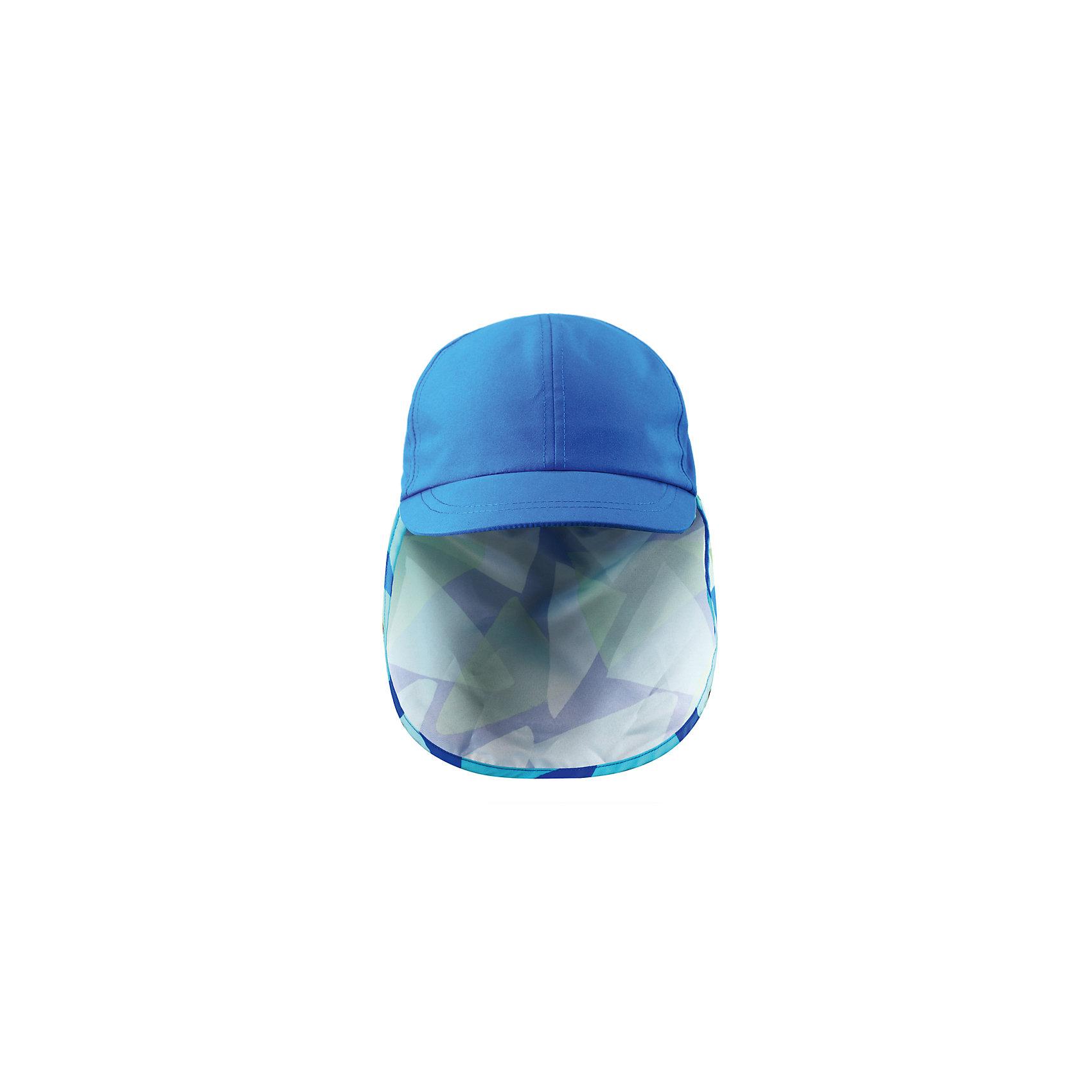 Кепка  ReimaКепка  от финской марки Reima.<br> - Материал непроницаемый для солнечных лучей с коэффициентом защиты от УФ 50+<br>- Удлиненное поле сзади защищает шею<br>-Возможность регулировки сзади<br><br>Состав:<br>100% ПЭ<br><br>Ширина мм: 89<br>Глубина мм: 117<br>Высота мм: 44<br>Вес г: 155<br>Цвет: голубой<br>Возраст от месяцев: 48<br>Возраст до месяцев: 60<br>Пол: Мужской<br>Возраст: Детский<br>Размер: 52,48,50,46,56,54<br>SKU: 4031867