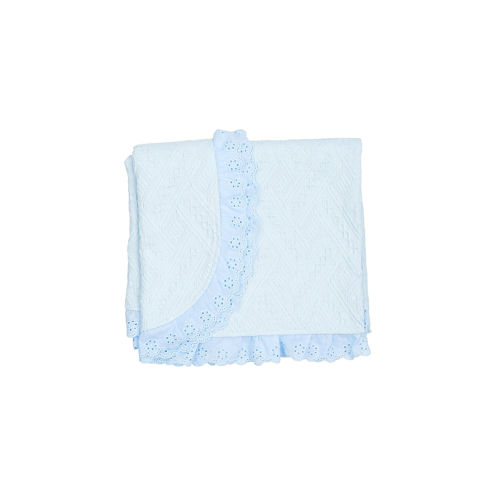 Одеяло детское вязанное с рюшами, Baby Nice, голубой