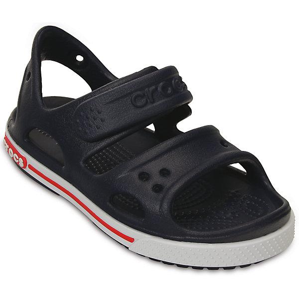 Сандалии Crocband II Sandal PS для мальчика Crocs, черныйПляжная обувь<br>Характеристики товара:<br><br>• цвет: черный<br>• материал: 100% полимер Croslite™<br>• бактериостатичный материал<br>• ремешок фиксирует стопу<br>• антискользящая подошва<br>• сезон: лето<br>• страна бренда: США<br>• страна изготовитель: Китай<br><br>Обувь от американского бренда Crocs в данный момент завоевала широкую популярность во всем мире, и это не удивительно - ведь она невероятно удобна. <br><br>Её носят врачи, спортсмены, звёзды шоу-бизнеса, люди, которым много времени приходится бывать на ногах - они понимают, как важна комфортная обувь. <br><br>Продукция Crocs - это качественные товары, созданные с применением новейших технологий. <br><br>Обувь отличается стильным дизайном и продуманной конструкцией. <br><br>Изделие производится из качественных и проверенных материалов, которые безопасны для детей.<br><br>Материал, из которого они сделаны, не дает размножаться бактериям, поэтому такая обувь препятствует образованию неприятного запаха и появлению болезней стоп. <br><br>Сандалии для мальчика от торговой марки Crocs можно купить в нашем интернет-магазине.<br>Ширина мм: 219; Глубина мм: 154; Высота мм: 121; Вес г: 343; Цвет: синий; Возраст от месяцев: 15; Возраст до месяцев: 18; Пол: Мужской; Возраст: Детский; Размер: 26,21,23,25,27,29,30,24,22,28,34/35,33/34,31/32; SKU: 4033717;
