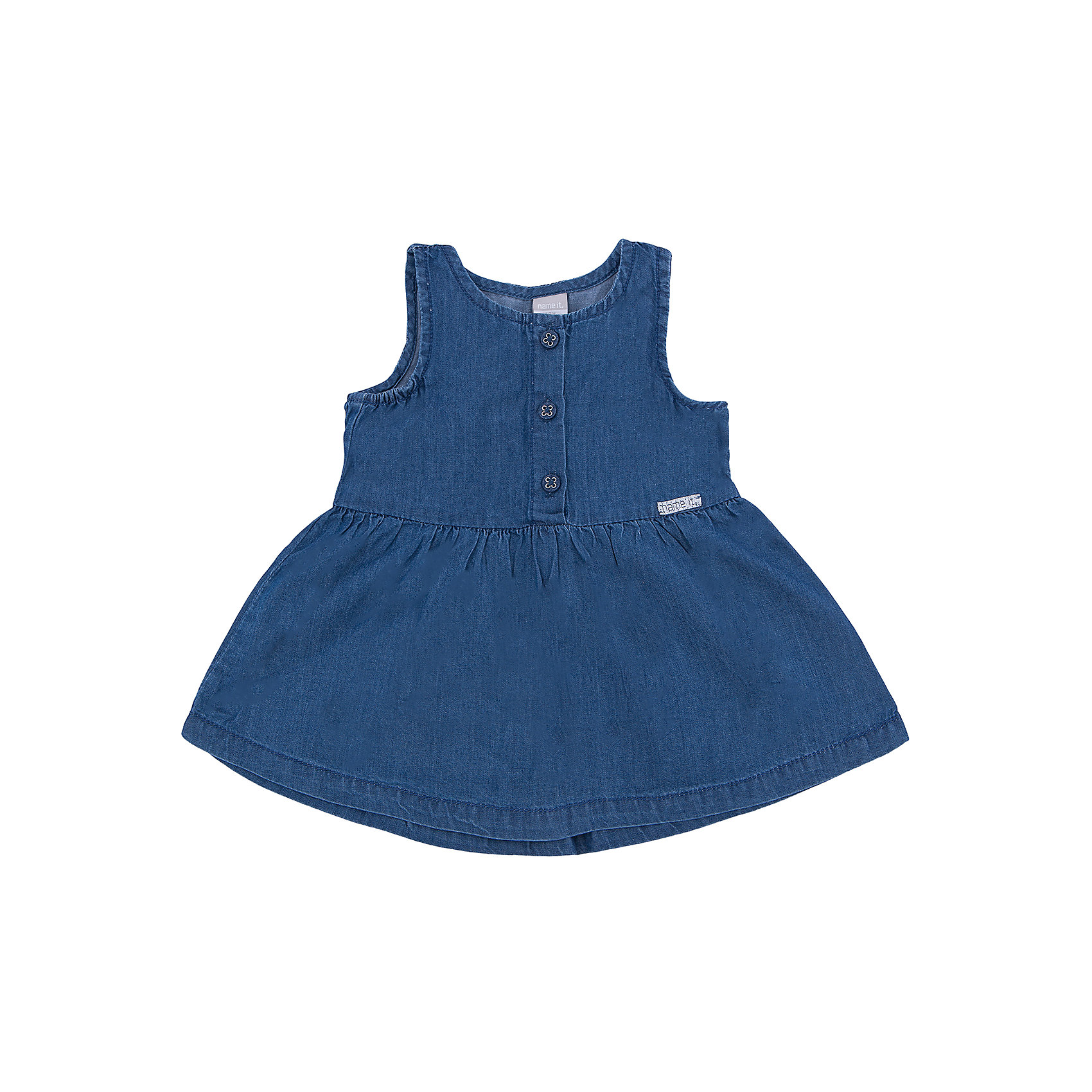 Платье name itПлатье для девочки от известной марки Name it<br><br>Модное удобное платье - отличный вариант разнообразить гардероб. В нем ребенку будет комфортно. Сшита модель из легкого джинсового материала, просто надевается, отлично смотрится. Такое платье подойдет практически к любому случаю.<br><br>Особенности модели:<br><br>- цвет: синий;<br>- верх украшен пуговицами;<br>- пышный подол;<br>- без рукавов;<br>- круглый горловой вырез;<br>- на талии - логотип.<br><br>Дополнительная информация:<br><br>Состав: 100% хлопок<br> <br>Платье для девочки от Name it (Нэйм Ит) можно купить в нашем магазине.<br><br>Ширина мм: 236<br>Глубина мм: 16<br>Высота мм: 184<br>Вес г: 177<br>Цвет: синий<br>Возраст от месяцев: 2<br>Возраст до месяцев: 5<br>Пол: Женский<br>Возраст: Детский<br>Размер: 62,56,74,68<br>SKU: 4035511