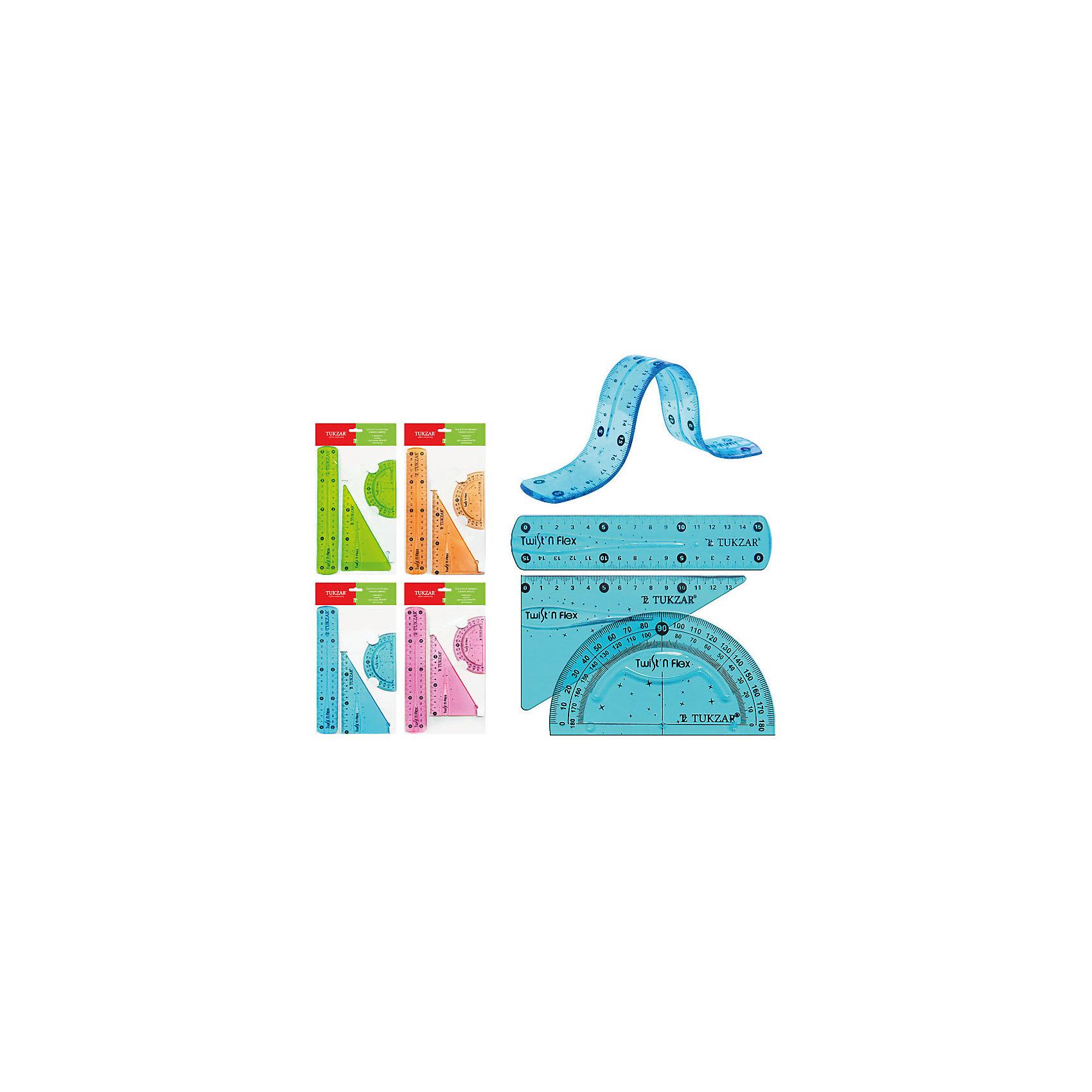 Набор гибких линеек 20 см (в ассортименте)Набор гибких линеек отлично подойдет для школьных занятий и уроков черчения. В комплекте линейка 20 см., треугольник и транспортир. Благодаря особому материалу и гибкости линейки не ломаются и прослужат школьнику в течении всей учебы. В ассортименте 4 расцветки (голубой, зеленый, оранжевый, розовый).<br><br>Дополнительная информация:<br><br>- В комплекте: линейка (20 см.), треугольник (3 х 6 х 9 см.), транспортир.<br>- Материал: пластик.<br>- Размер упаковки: 30 х 5 х 2 см.<br>- Вес: 20 гр.<br><br>Набор гибких линеек можно, Tukzar, купить в нашем интернет-магазине.<br><br>ВНИМАНИЕ! Данный артикул имеется в наличии в разных цветовых исполнениях (голубой, зеленый, оранжевый, розовый). К сожалению, заранее выбрать определенный цвет не возможно.<br><br>Ширина мм: 300<br>Глубина мм: 50<br>Высота мм: 20<br>Вес г: 20<br>Возраст от месяцев: 36<br>Возраст до месяцев: 144<br>Пол: Унисекс<br>Возраст: Детский<br>SKU: 4037259