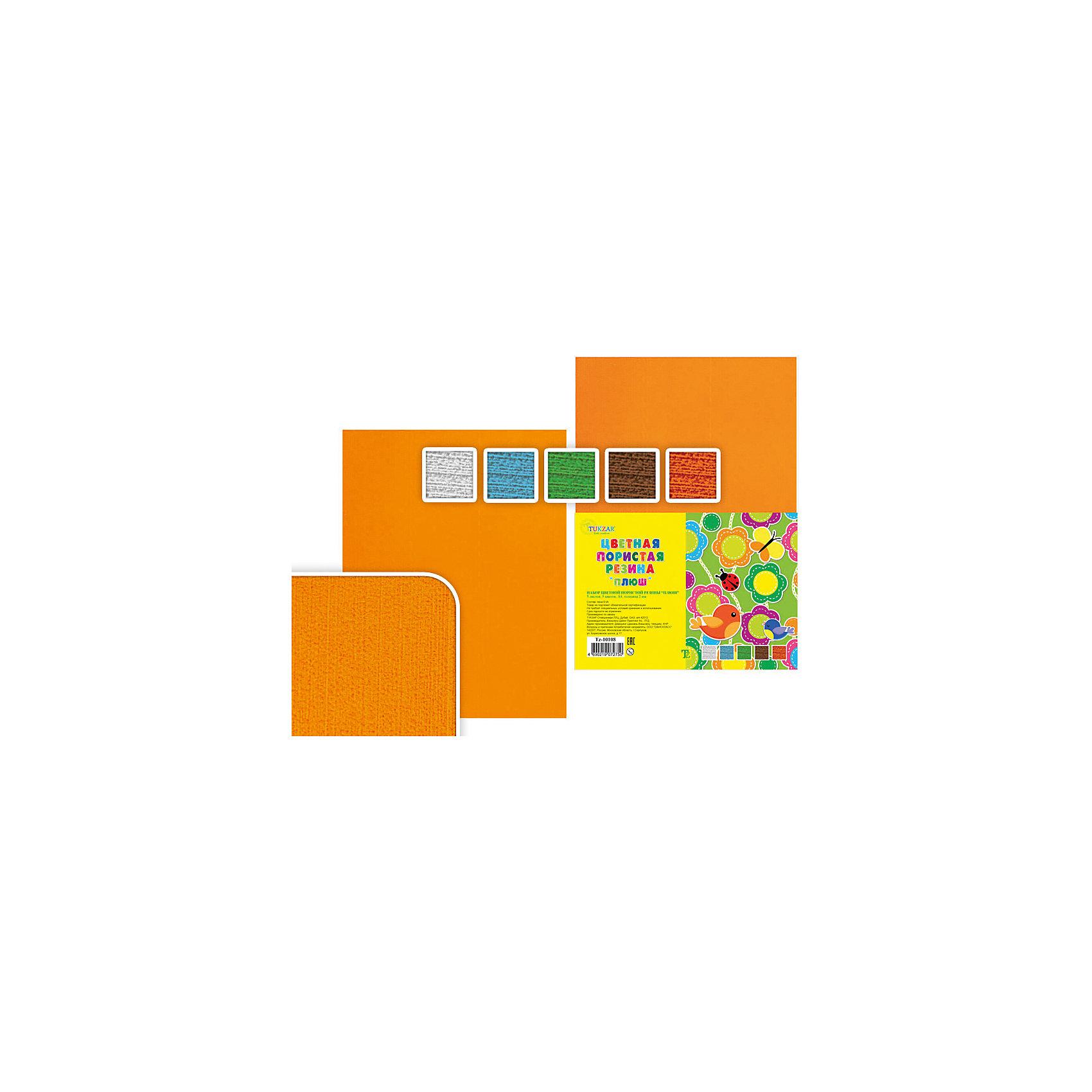 Цветная пористая резина А4 Плюш (5 листов, 5 цветов)Рукоделие<br>Цветная пористая резина Плюш, Tukzar, замечательно подойдет для детского творчества, поделок и аппликаций, а также для различных оформительских работ. В комплекте 5 листов 5 разных цветов (голубой, белый, зеленый, оранжевый, коричневый). Одна сторона листа шероховатая, другая гладкая, на гладкой можно писать и рисовать фломастером.<br><br>Дополнительная информация:<br><br>- В комплекте: 5 листов.<br>- Формат: А4.<br>- Толщина: 2 мм.<br>- Размер упаковки: 30 x 21 x 1,4 см.<br>- Вес: 70 гр.<br><br>Цветную пористую резину Плюш, Tukzar, можно купить в нашем интернет-магазине.<br><br>Ширина мм: 300<br>Глубина мм: 210<br>Высота мм: 10<br>Вес г: 150<br>Возраст от месяцев: 36<br>Возраст до месяцев: 120<br>Пол: Унисекс<br>Возраст: Детский<br>SKU: 4037265