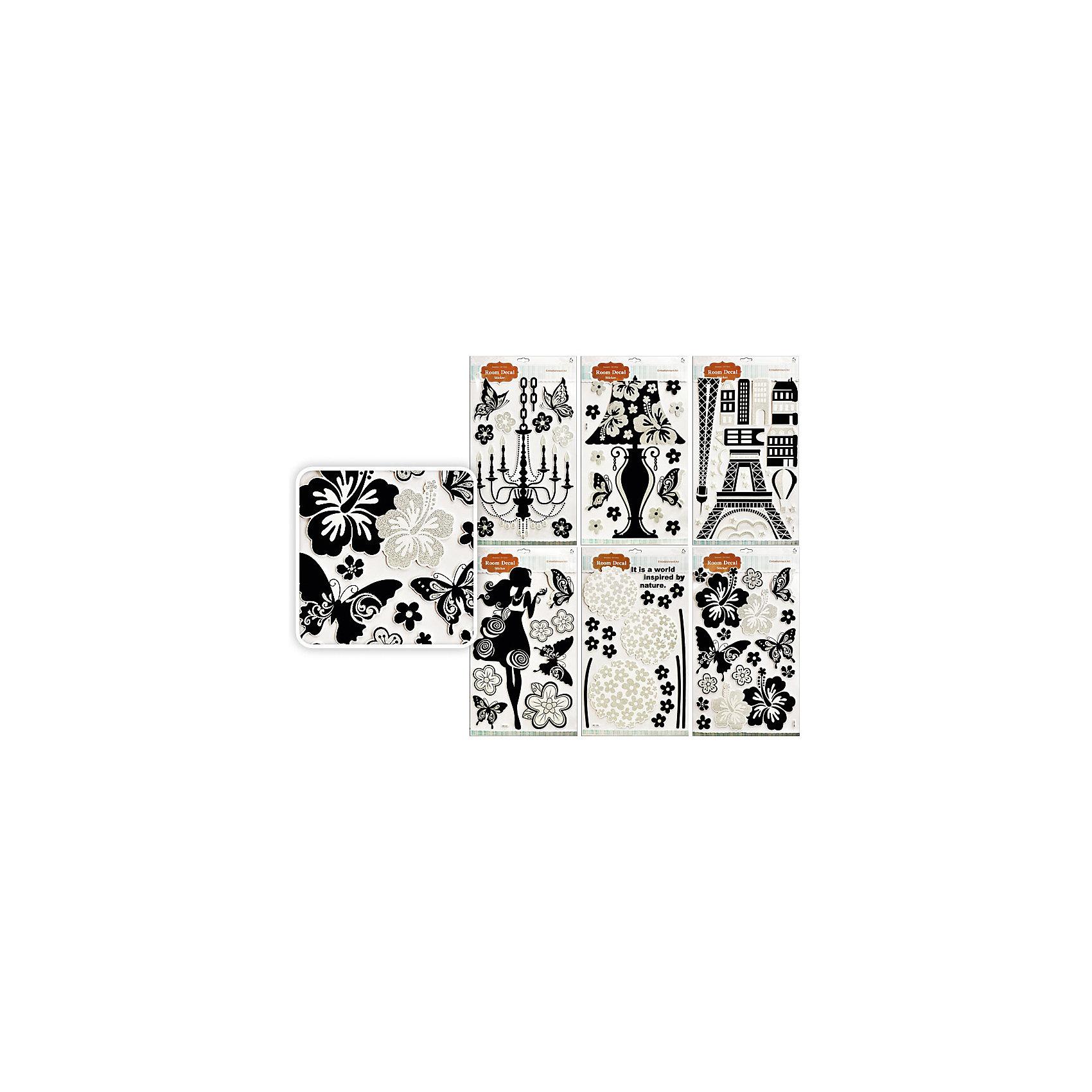 Интерьерные наклейки 32х56 см (в ассортименте)Стильные интерьерные наклейки в черно-белых цветах замечательно подойдут для украшения стен или мебели, поднимут настроение и создадут уют в доме. В каждом наборе несколько деталей, из которых складывается оригинальная композиция. В ассортименте 6 дизайнов наклеек.<br><br>Дополнительная информация:<br><br>- Размер упаковки: 32 х 56 х 1 см. <br>- Вес: 50 гр.<br><br>Интерьерные наклейки, Tukzar, можно купить в нашем интернет-магазине.<br><br>ВНИМАНИЕ! Данный артикул имеется в наличии в разных вариантах исполнения. Заранее выбрать определенный вариант нельзя. При заказе нескольких наклеек возможно получение одинаковых.<br><br>Ширина мм: 560<br>Глубина мм: 320<br>Высота мм: 10<br>Вес г: 50<br>Возраст от месяцев: 36<br>Возраст до месяцев: 216<br>Пол: Унисекс<br>Возраст: Детский<br>SKU: 4037277