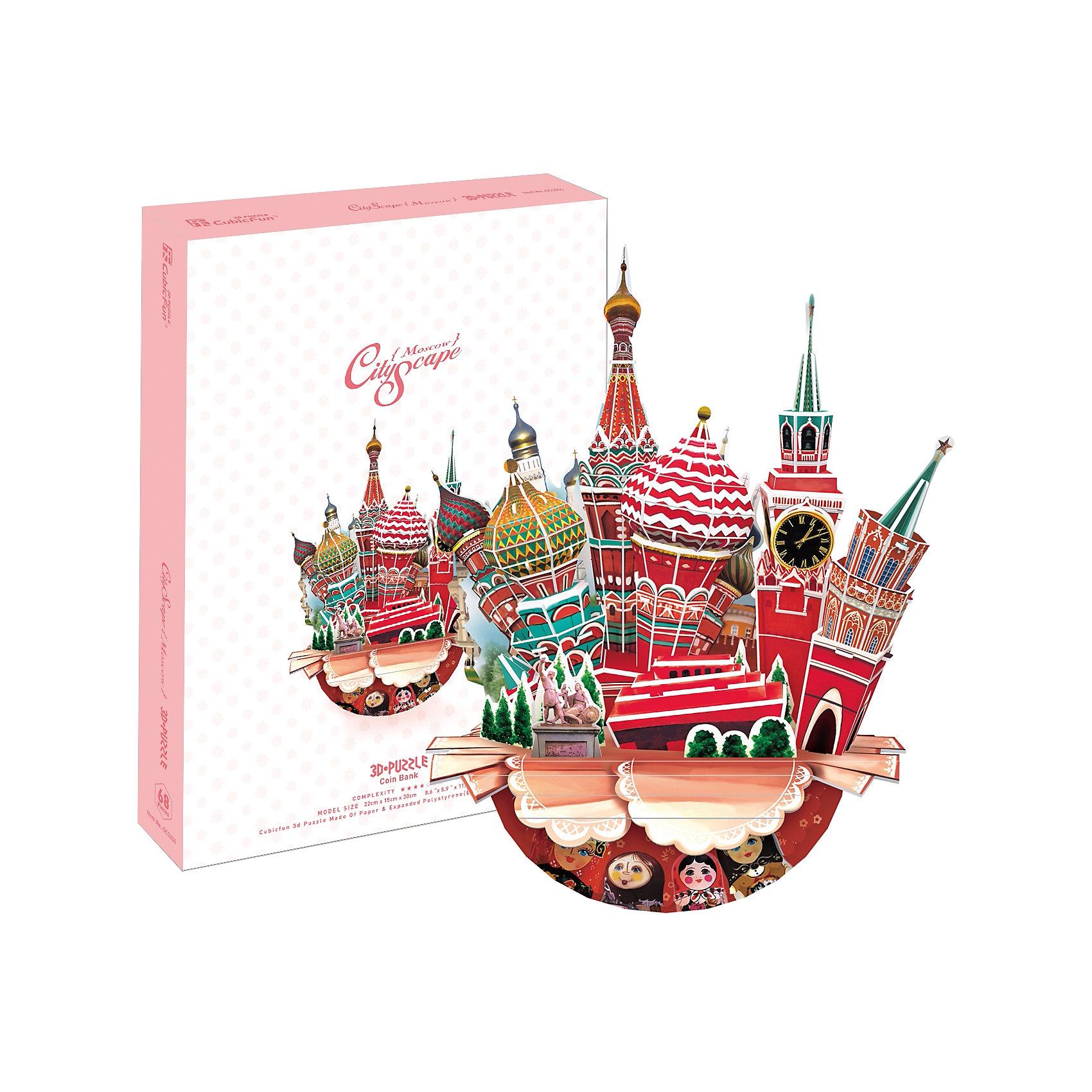 Пазл 3D Городской пейзаж - Москва, CubicFunПазл 3D Городской пейзаж - Москва, CubicFun - увлекательный набор для творчества, который будет интересен не только детям но даже их родителям. С помощью входящих в набор картонных деталей Вы сможете собрать оригинальный трехмерный пазл в виде городского пейзажа с основными достопримечательностями Москвы. Объемная композиция включает в себя все самые узнаваемые символы Москвы - Собор Василия Блаженного, Красную площадь, памятник Минину и Пожарскому, Спасскую башню. Основание-горшок украшено разноцветными матрешками и кружевом. Пазл обирается без использования клея и ножниц, составные элементы отлично соединяются между собой с помощью специальных соединительных приспособлений. Готовая композиция станет отличным украшением интерьера. Собирание пазла способствует развитию логического мышления, внимания, мелкой моторики и координации движений.<br><br>Дополнительная информация:<br><br>- Материал: картон. <br>- Размер в собранном виде: 15 х 30 х 22 см.<br>- Размер упаковки: 30 х 22 х 4 см.<br>- Вес: 0,3 кг.<br><br>Пазл 3D Городской пейзаж - Москва, CubicFun, можно купить в нашем интернет-магазине.<br><br>Ширина мм: 225<br>Глубина мм: 305<br>Высота мм: 45<br>Вес г: 440<br>Возраст от месяцев: 72<br>Возраст до месяцев: 192<br>Пол: Унисекс<br>Возраст: Детский<br>Количество деталей: 68<br>SKU: 4038030