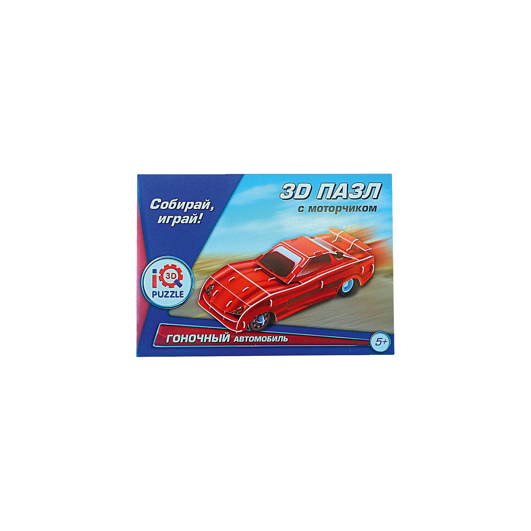 3D пазл Красный гоночный автомобиль, инерционный, 58 деталейСобери настоящий гоночный автомобиль на объемных колесах! Оснащенный инерционным механизмом он очень быстро ездит и обязательно победит в гонке. Все детали игрушки выполнены из высококачественного пластика, части пазла имеют надежные крепления, легко собираются, покрыты слоем пластика для еще большей долговечности. Собирание пазлов способствует развитию мелкой моторики, образного и логического мышления. Без дополнительных инструментов и посторонней помощи ваш ребенок сможет сам создать мощный погрузчик. <br><br>Дополнительная информация:<br><br>- Материал: пластик, ламинированный пенокартон.<br>- Комплектация: детали пазла, колеса с инерционным механизмом, инструкция.<br>- Размер упаковки: 17х12 см.<br><br>3D пазл Красный гоночный автомобиль, с моторчиком можно купить в нашем магазине.<br><br>Ширина мм: 170<br>Глубина мм: 30<br>Высота мм: 120<br>Вес г: 9999<br>Возраст от месяцев: 60<br>Возраст до месяцев: 120<br>Пол: Мужской<br>Возраст: Детский<br>Количество деталей: 58<br>SKU: 4038471