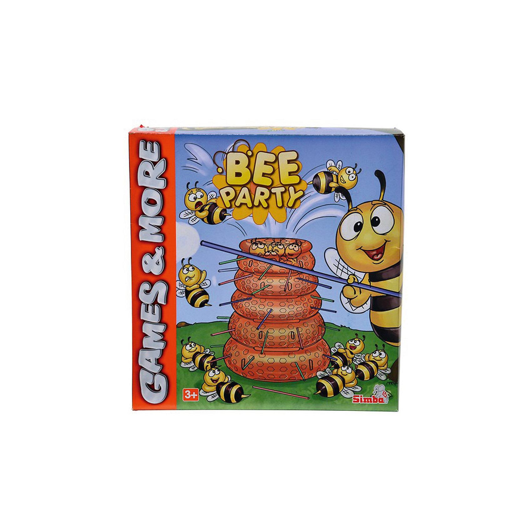 Игра Пчелы, SimbaИгра Пчелы, Simba (Симба) – эта занимательная настольная игра надолго увлечет вашего малыша.<br>Игра настольная Пчелы -  это увлекательное путешествие в жизнь пчелиного улья. Настольная игра Пчелы Simba (Симба) порадует вашего ребенка и подарит ему много веселья, ведь цель игры - не только выиграть, но и повеселиться от души. Внутри коробки вас ждет пластиковый улей с дырочками, много палочек и маленькие пчелы. Каждый из игроков выбирает цвет палочек, вставляет их в улей. Сверху на улей высыпаются пчелы. Далее нужно по очереди вытягивать палочки. Задача — орудовать палочками согласно правилам, не допуская выпадения пчелок из улья. У какого игрока по итогу, после вытягивания палочек, упало больше всего пчел, тот и проиграл! Игра развивает внимательность, аккуратность, усидчивость, мелкую моторику. Кроме того, она просто-напросто очень нравится детям, так как игровой процесс увлекателен и необычен.<br><br>Дополнительная информация:<br><br>- В наборе: улей, палочки 3-х цветов, пчелы 26 шт.<br>- Количество игроков: до 3 человек<br>- Материал: картон, пластик<br>- Размер коробки: 25 х 26 х 9 см.<br>- Вес: 450 гр.<br><br>Игру Пчелы, Simba (Симба) можно купить в нашем интернет-магазине.<br><br>Ширина мм: 250<br>Глубина мм: 260<br>Высота мм: 90<br>Вес г: 450<br>Возраст от месяцев: 36<br>Возраст до месяцев: 192<br>Пол: Унисекс<br>Возраст: Детский<br>SKU: 4039815