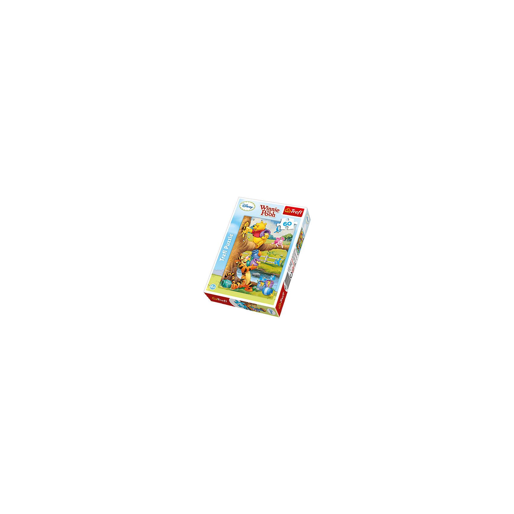 Пазлы Маленкий Винни-Пух, 60 элементов, TreflПазлы для малышей<br>Все помнят мультсериал «Винни-Пух» от Дисней? Он уже не один десяток лет радует маленьких и уже взрослых фанатов. И дети, и их родители придут в восторг от пазла польской компании Trefl с изображением любимых персонажей – Тигра, Пятачок и, конечно же, всеми любимый сладкоежка – Винни-Пух.<br>Дети наверняка оценят крупные размеры деталей с отлично переданными частями картинки. Родителям понравится качество исполнения пазла – никаких отслоений и добротно вырезанные детали. Кроме того, плотная коробка сохранит свои формы на долгое время, а детали пазла не растеряются.<br>Такая игра рекомендуется с 3 лет. В пазле 60 деталей. Возможно, во время первой сборки, ребенку понадобится помощь, но потом он освоится и удивит Вас скоростью самостоятельной сборки!<br><br>Ширина мм: 213<br>Глубина мм: 144<br>Высота мм: 44<br>Вес г: 195<br>Возраст от месяцев: 48<br>Возраст до месяцев: 84<br>Пол: Унисекс<br>Возраст: Детский<br>Количество деталей: 60<br>SKU: 4040329