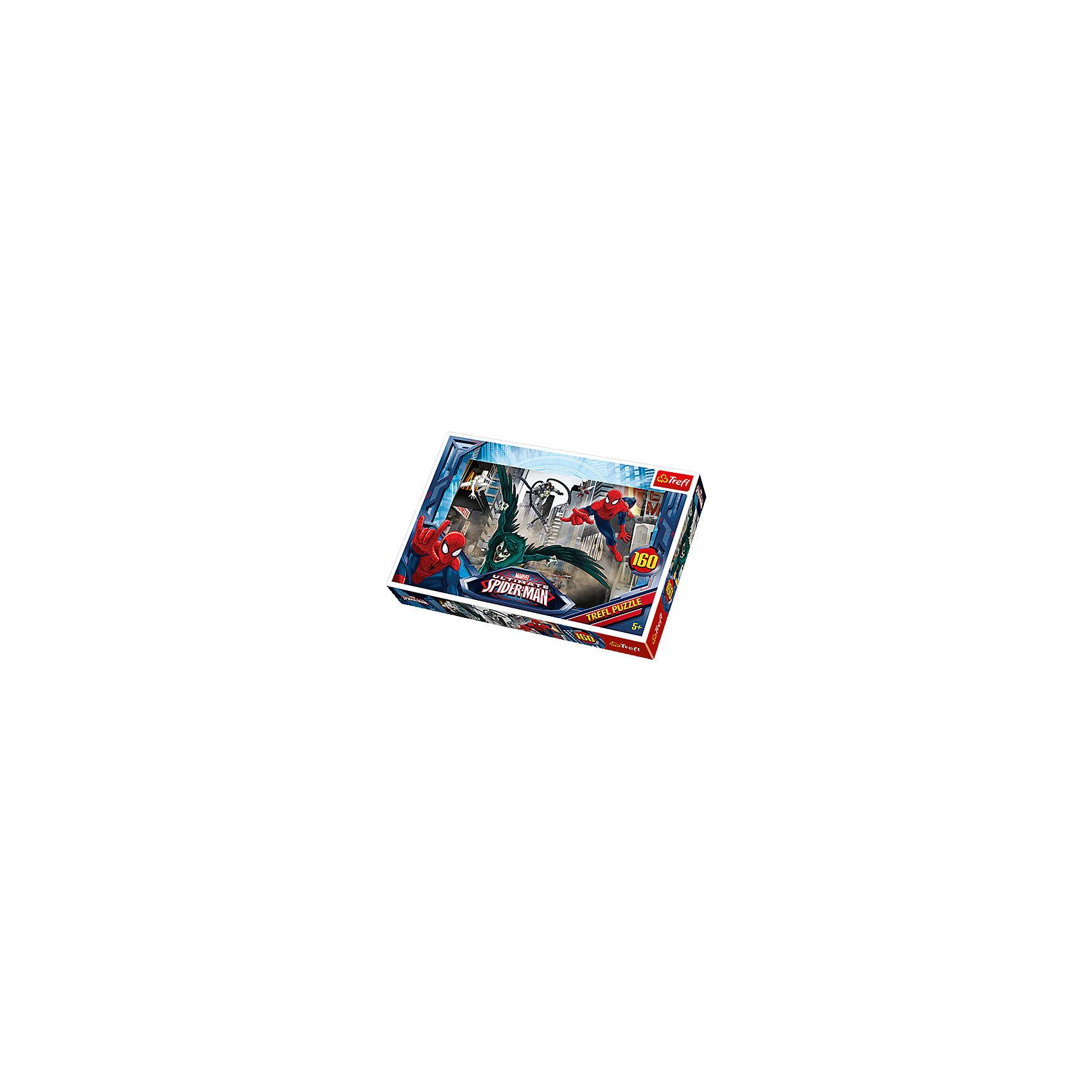 Пазлы Trefl Человек-Паук и его враги, 160 элементовЧеловек-Паук<br>Порадуйте юного супергероя пазлом Человек-Паук и его враги от бренда Trefl. Собирая картинку, на которой Человек-паук гонится за своим врагом, ребенок, включив свою фантазию, сможет очутиться в фантастическом мире приключений и подвигов супергероев вместе с любимыми персонажами. На картинке также изображено большое количество машин и людей. Яркие детали, выполненные из высококачественного материала и очень приятны на ощупь. Во время сбора пазлов хорошо развивается логика,  воображение, ну и конечно же мелкая моторика рук. Подобное приобретение станет отличным подарком юным фантазерам. <br>Изображение включает в себя 160 элементов. <br>Рекомендуемый возраст: от 5 лет.<br><br>Ширина мм: 289<br>Глубина мм: 198<br>Высота мм: 43<br>Вес г: 310<br>Возраст от месяцев: 84<br>Возраст до месяцев: 108<br>Пол: Мужской<br>Возраст: Детский<br>Количество деталей: 160<br>SKU: 4040335