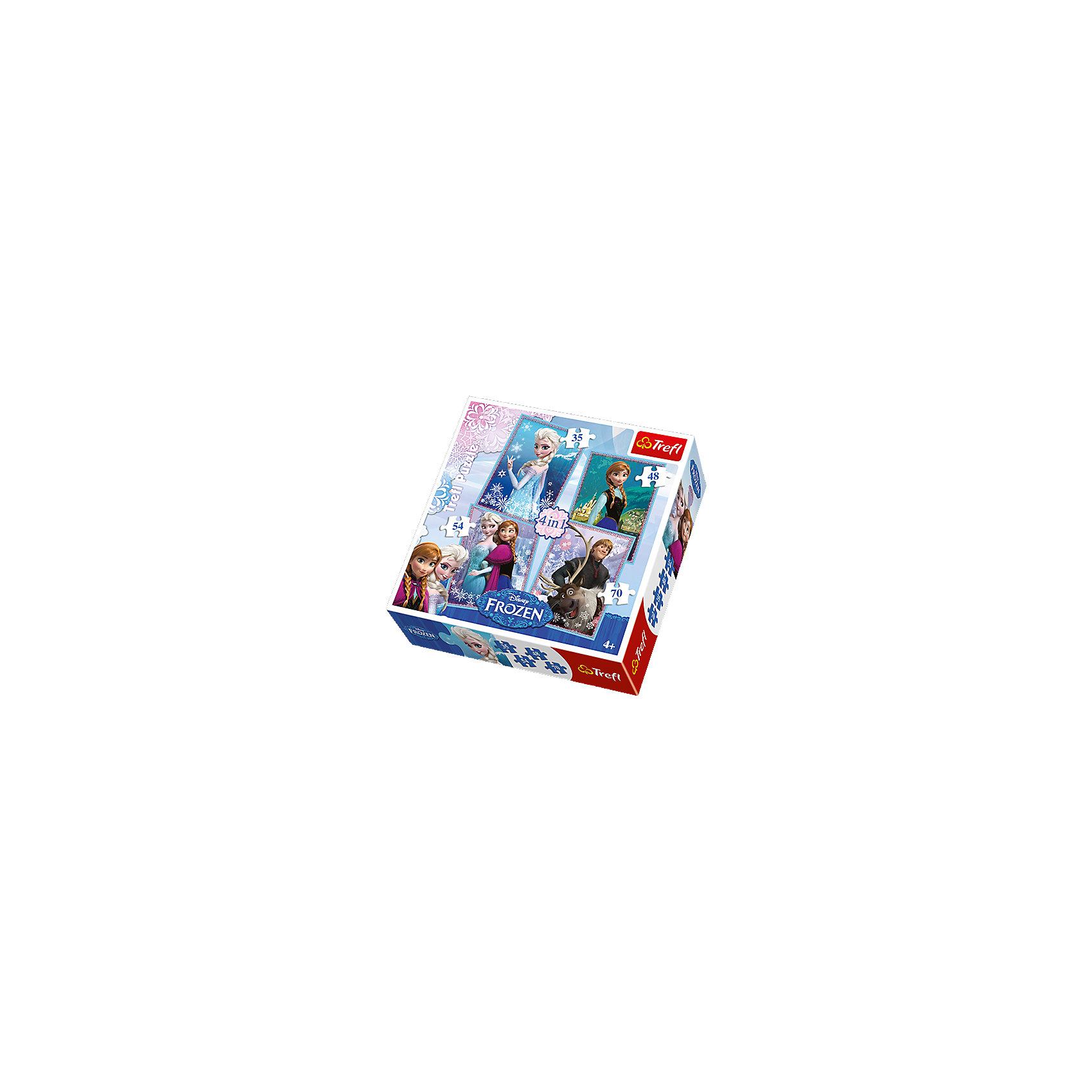 Набор пазлов 4 в 1 Холодное Сердце, 35*48*54*70 деталей, TreflКоличество деталей<br>Характеристики товара:<br><br>• возраст от 5 лет;<br>• материал: картон;<br>• в комплекте: 1 пазл из 35 элементов, 1 пазл из 48 элементов, 1 пазл из 54 элементов, 1 пазл из 70 элементов;<br>• размер пазла 28,5х20,5 см;<br>• размер упаковки 28х28х6 см;<br>• вес упаковки 565 гр.;<br>• страна производитель: Польша.<br><br>Набор пазлов 4 в 1 «Холодное сердце» Trefl создан по мотивам известного мультфильма Дисней «Холодное сердце». В наборе 4 пазла с любимыми персонажами: принцессами Анной и Эльзой, отважным Кристоффом и смешным оленем Свеном. Все элементы сделаны из качественного плотного картона, безопасного для детей. В процессе сборки у детей развиваются логическое мышление, усидчивость, моторика рук.<br><br>Набор пазлов 4 в 1 «Холодное сердце» Trefl можно приобрести в нашем интернет-магазине.<br><br>Ширина мм: 287<br>Глубина мм: 286<br>Высота мм: 66<br>Вес г: 575<br>Возраст от месяцев: 60<br>Возраст до месяцев: 96<br>Пол: Женский<br>Возраст: Детский<br>Количество деталей: 35<br>SKU: 4040342