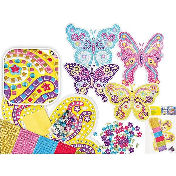 Самоклеящаяся мозаика Бабочка (в ассортименте)Последняя цена<br>Мозайка самоклеящаяся БАБОЧКА, 4 вида – отличное решение, которое сделает ваш интерьер неповторимым, уютным и жизнерадостным. Сначала необходимо оформить рисунок бабочки с помощью мозаичных элементов и страз-наклеек. Привлеките к творческому процессу ребенка и позвольте ему проявить свою фантазию!<br>Благодаря самоклеящейся поверхности мозаика легко наклеивается на любую ровную поверхность (стену, кафель, дверь, зеркало, окно и др.) и также просто удаляется, не оставляя следов. <br><br>Характеристики:<br>-можно нанести практически на любую поверхность<br>-легко удаляются и не оставляют пятен<br>-помогут скрыть дефект и недостатки поверхности<br>-дают возможность проявить свою фантазию и выступить в роли дизайнера<br>-станут оригинальным подарком для друзей и родных<br><br>Комплектация: пронумерованная картонная картинка-основа с фигурным контуром бабочки, разноцветные листы из фольги, стразы-наклейки для украшения<br><br>Дополнительная информация:<br>-Размеры картинки с контуром: 28х24 см <br>-В ассортименте: 4 вида дизайна (заранее выбрать невозможно, при заказе нескольких возможно получение одинаковых)<br>-Материалы: полимерный материал EVA<br><br>Самоклеящаяся мозаика – прекрасное решение, которое позволит проявить творческие способности Вашему ребенку, а затем преобразить и оживить интерьер детской комнаты за минуту!<br><br>Мозайку БАБОЧКА, 4 вида можно купить в нашем магазине.<br>Ширина мм: 220; Глубина мм: 220; Высота мм: 5; Вес г: 100; Возраст от месяцев: 36; Возраст до месяцев: 168; Пол: Унисекс; Возраст: Детский; SKU: 4040382;