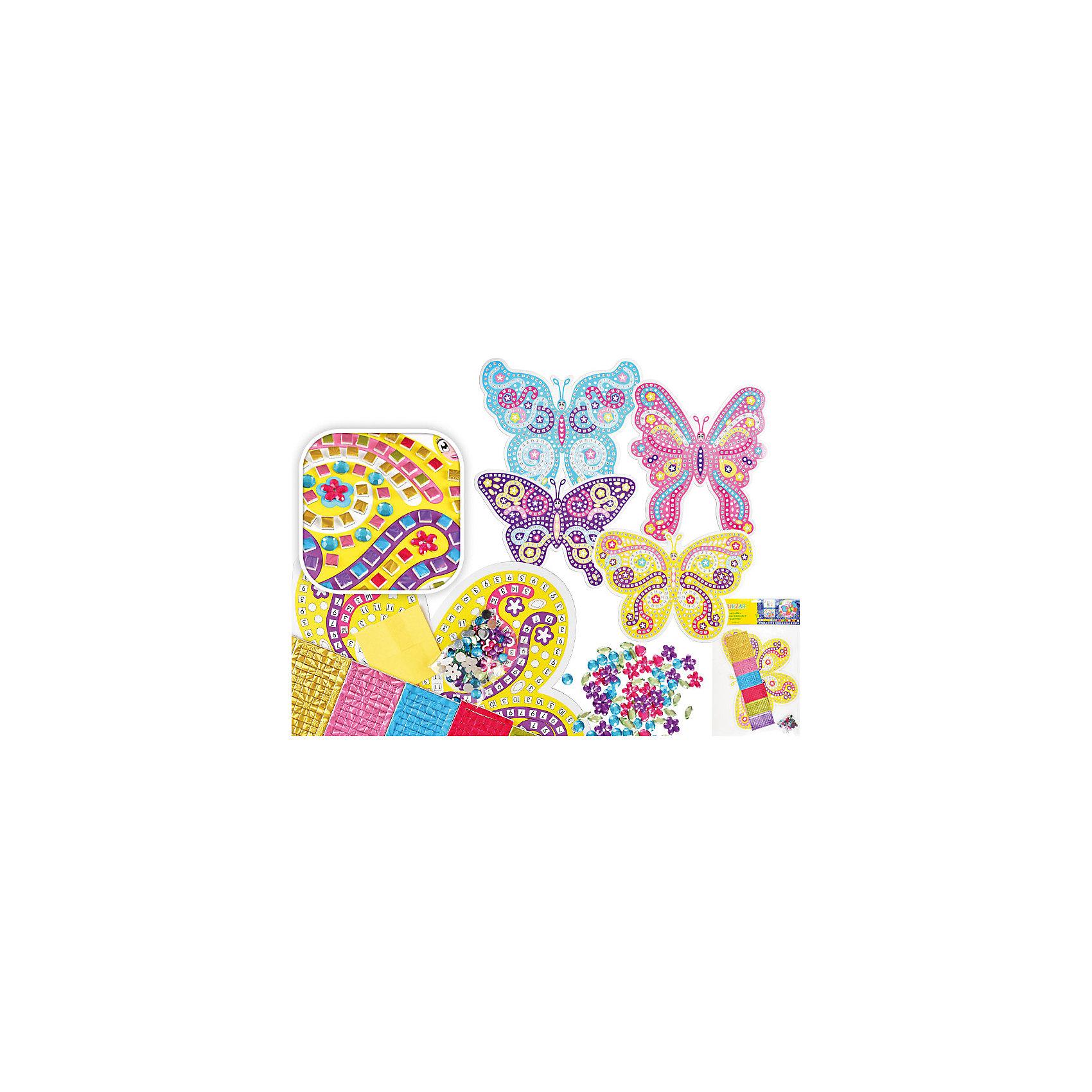 Самоклеящаяся мозаика Бабочка (в ассортименте)Последняя цена<br>Мозайка самоклеящаяся БАБОЧКА, 4 вида – отличное решение, которое сделает ваш интерьер неповторимым, уютным и жизнерадостным. Сначала необходимо оформить рисунок бабочки с помощью мозаичных элементов и страз-наклеек. Привлеките к творческому процессу ребенка и позвольте ему проявить свою фантазию!<br>Благодаря самоклеящейся поверхности мозаика легко наклеивается на любую ровную поверхность (стену, кафель, дверь, зеркало, окно и др.) и также просто удаляется, не оставляя следов. <br><br>Характеристики:<br>-можно нанести практически на любую поверхность<br>-легко удаляются и не оставляют пятен<br>-помогут скрыть дефект и недостатки поверхности<br>-дают возможность проявить свою фантазию и выступить в роли дизайнера<br>-станут оригинальным подарком для друзей и родных<br><br>Комплектация: пронумерованная картонная картинка-основа с фигурным контуром бабочки, разноцветные листы из фольги, стразы-наклейки для украшения<br><br>Дополнительная информация:<br>-Размеры картинки с контуром: 28х24 см <br>-В ассортименте: 4 вида дизайна (заранее выбрать невозможно, при заказе нескольких возможно получение одинаковых)<br>-Материалы: полимерный материал EVA<br><br>Самоклеящаяся мозаика – прекрасное решение, которое позволит проявить творческие способности Вашему ребенку, а затем преобразить и оживить интерьер детской комнаты за минуту!<br><br>Мозайку БАБОЧКА, 4 вида можно купить в нашем магазине.<br><br>Ширина мм: 220<br>Глубина мм: 220<br>Высота мм: 5<br>Вес г: 100<br>Возраст от месяцев: 36<br>Возраст до месяцев: 168<br>Пол: Унисекс<br>Возраст: Детский<br>SKU: 4040382