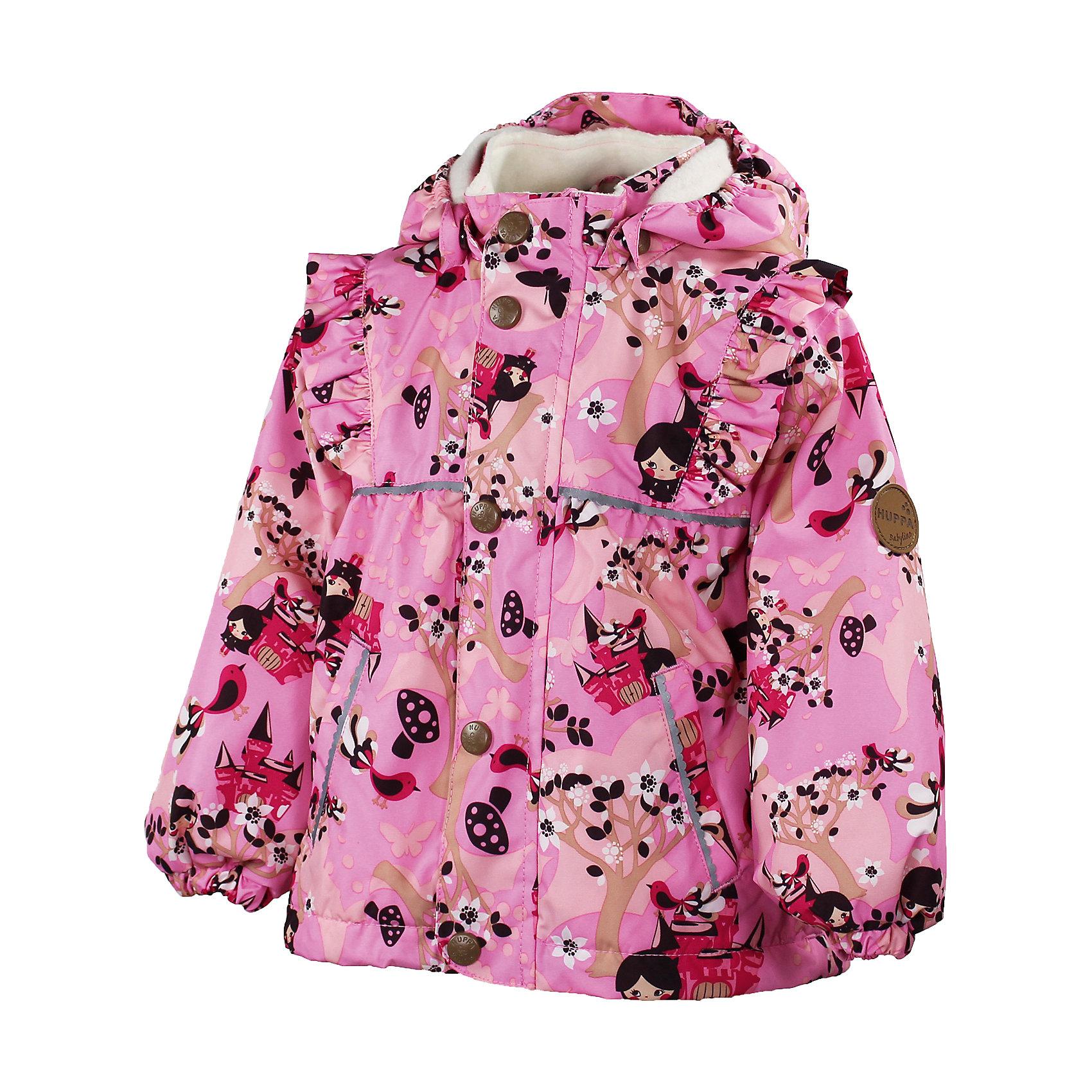 Куртка для девочки HuppaДемисезонная куртка для девочки Huppa (Хуппа) - яркая и стильная куртка для маленьких модниц, которая позволит им чувствовать себя комфортно в любую погоду. Влагоустойчивая и дышащая ткань защищает от ветра и влаги. Специальная технология сплетения волокон в тканях придает ей прочность и износоустойчивость. Куртка выполнена в приятной розовой расцветке и украшена оригинальным принтом с цветущими деревьями и маленькими принцессами, на плечах кокетливые оборочки. Застежка на молнии и пуговицах, воротник-стойка, имеются два прорезных кармана без застежек и отстегивающийся регулируемый капюшон на кнопках. На рукавах манжеты с резинкой. Куртка оснащена светоотражающими элементами, которые повышают безопасность ребенка в темное время суток. Плечевые швы проклеены для максимальной влагонепроницаемости. Куртка легко стирается и быстро сохнет. Стирка в теплой воде при температуре до 40°С, без использования отбеливателей.<br><br>Дополнительная информация:<br><br>- Цвет: розовый.<br>- Сезон: весна-осень.<br>- Материал: верх - 100% полиэстер, подкладка - coral-fleece (смесь хлопка и полиэстера), в рукавах - тафта.<br>- Водонепроницаемая мембрана 10000 мм.<br>- Воздухопроницаемость: 10000г/кв.м/24час.<br>- Температурный режим: от +7 градусов и выше.<br> <br>Куртку для девочки Huppa (Хуппа) можно купить в нашем интернет-магазине.<br><br>Ширина мм: 356<br>Глубина мм: 10<br>Высота мм: 245<br>Вес г: 519<br>Цвет: розовый<br>Возраст от месяцев: 12<br>Возраст до месяцев: 18<br>Пол: Женский<br>Возраст: Детский<br>Размер: 86,98,104,92<br>SKU: 4041500