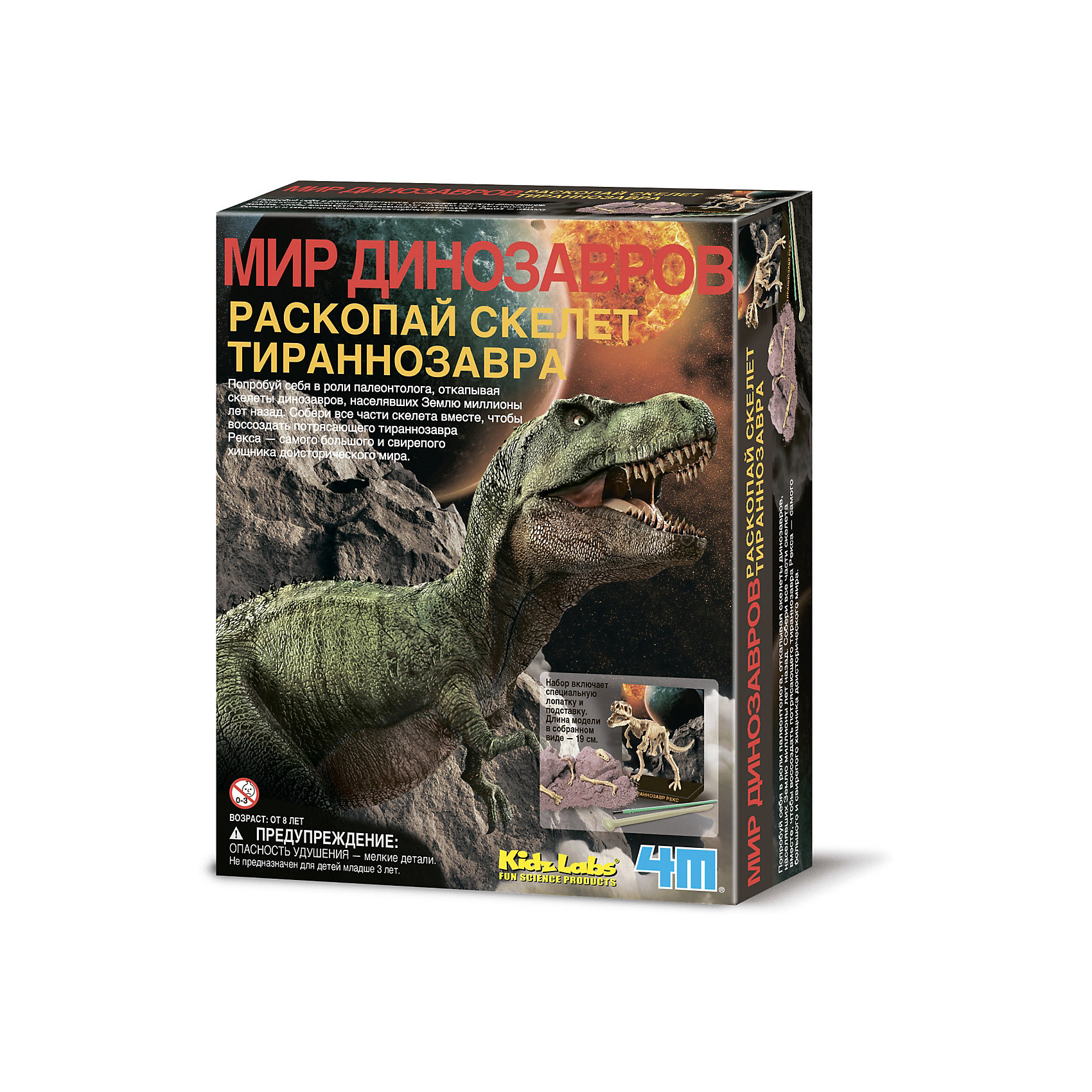 Скелет Тираннозавра, 4МНаборы для раскопок<br>С помощью набора Скелет Тираннозавра, 4М Ваш ребенок может самостоятельно провести раскопки и отыскать кости Тираннозавра Рекса. Специальными археологическими инструментами (молоточком, скребком и кисточкой) нужно аккуратно расчистить гипсовый брикет красно-бурого цвета, имитирующий слой земли, освобождая косточку за косточкой. Когда работа на этом этапе подойдет к концу, начнется увлекательная сборка скелета – в соответствии с наглядной инструкцией ребенок соединяет кости с помощью мягкого воска. Самостоятельно собранный тираннозавр станет отличным декором в комнате! <br><br>Характеристики:<br>-Развивает: мелкую моторику рук, фантазию, воображение, сообразительность, любознательность, усидчивость<br>-Расширенные возможности серии: можно собрать коллекцию скелетов динозавров<br>-В процессе раскопки костей и сборки ребенок знакомится со строением скелета динозавра <br>-Собранная модель может являться наглядным пособием <br><br>Комплектация:<br>-кисточка<br>-скребок с молоточком<br>-мягкий воск<br>-брикет, имитирующий слой земли (11,5х9х4,5 см)<br>-кости динозавра <br>-инструкция <br><br>Дополнительная информация:<br>-Вес в упаковке: 500 г<br>-Размеры в упаковке: 215х165х60 мм<br>-Размеры собранного скелета: 190 мм<br>-Материал: гипс, пластмасса, бумага, воск<br><br>Дайте возможность ребенку почувствовать себя палеонтологом – подарите ему набор Скелет Тираннозавра для проведения настоящих раскопок и сборки скелета древнего ящера!<br><br>Скелет Тираннозавра, 4М можно купить в нашем магазине.<br><br>Ширина мм: 215<br>Глубина мм: 165<br>Высота мм: 60<br>Вес г: 500<br>Возраст от месяцев: 60<br>Возраст до месяцев: 168<br>Пол: Унисекс<br>Возраст: Детский<br>SKU: 4043545