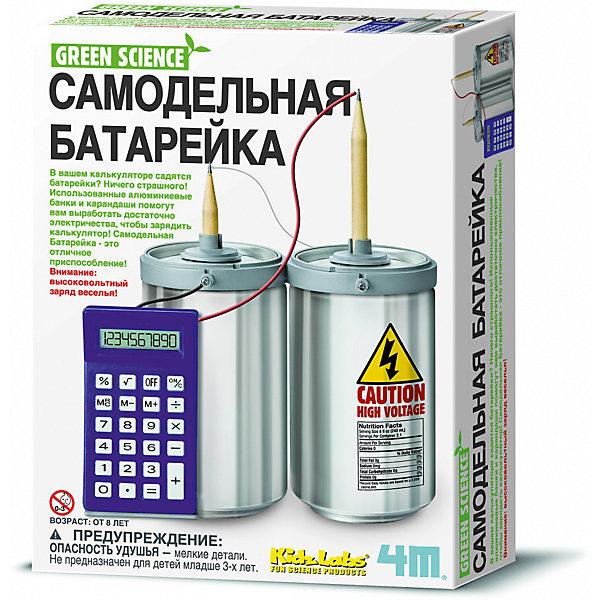 Самодельная батарейка, 4МХимия и физика<br>С набором Самодельная батарейка, 4М юный исследователь сможет получить не только массу удовольствия от практических опытов, но и узнать, что такое электричество и его проводники! Использованные алюминиевые банки из-под газировки и карандаши помогут вам выработать достаточно электричества, используя простую химическую реакцию, чтобы зарядить калькулятор. Самодельная батарейка – это отличное приспособление и один из способов развития познавательных навыков ребенка!<br><br>Комплектация:<br>-калькулятор с проводами<br>-подставка для калькулятора<br>-2 чернографитных карандаша<br>-2 держателя для карандашей<br>-2 разъема для карандашей<br>-6 винтов<br>-провод белого цвета<br>-подробная инструкция <br><br>Дополнительная информация:<br>-Внимание: дополнительно необходимы небольшая крестовая отвертка, 2 алюминиевые банки (НЕ входят в комплект)<br>-Вес в упаковке: 300 г<br>-Размеры в упаковке: 220х170х60 мм<br>-Материал: пластик, металл<br><br>Набор для создания самодельной батарейки – это отличное научное изобретения и один из способов развития познавательных навыков ребенка!<br><br>Набор Самодельная батарейка, 4М можно купить в нашем магазине.<br>Ширина мм: 220; Глубина мм: 170; Высота мм: 60; Вес г: 300; Возраст от месяцев: 84; Возраст до месяцев: 168; Пол: Унисекс; Возраст: Детский; SKU: 4043557;