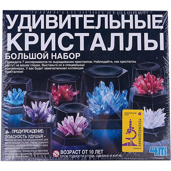 Удивительные кристаллы (Большой набор), 4МВыращивание кристаллов<br>Удивительные кристаллы (Большой набор), 4М позволит Вашему ребенку  самостоятельно вырастить коллекцию цветных кристаллов, и ему наверняка понравится играть в химика, смешивать и наблюдать за ростом кристаллов. Техника выращивания достаточно проста: растворите химикаты в горячей воде и дайте остыть до комнатной температуры. Далее опустите кристаллики в этот раствор. Следующие несколько часов Вы сможете наблюдать, как начнут расти эти замечательные кристаллы. Красивые, прочные и необычные кристаллы различных 7 цветов долго будут напоминать ребенку о проведенном опыте и станут прекрасным украшением интерьера детской комнаты. <br><br>Комплектация:<br>-основы для кристаллов<br>-смеси для выращивания кристалла (7 шт.)<br>-пластмассовый бокс<br>-ложка<br>-подробная инструкция с интересными фактами<br><br>Дополнительная информация:<br>-Вес в упаковке: 700 г<br>-Размеры в упаковке: 240х215х80 мм<br>-Материал: смеси для выращивания кристаллов, пластмасса<br><br>Набор Удивительные кристаллы (Большой набор) поможет родителям развивать интересы ребенка и направлять его в сторону науки и искусства, что позволит ребенку в дальнейшем найти свое призвание!<br><br>Большой набор  Удивительные кристаллы, 4М можно купить в нашем магазине.<br><br>Ширина мм: 240<br>Глубина мм: 215<br>Высота мм: 80<br>Вес г: 700<br>Возраст от месяцев: 120<br>Возраст до месяцев: 168<br>Пол: Унисекс<br>Возраст: Детский<br>SKU: 4043563